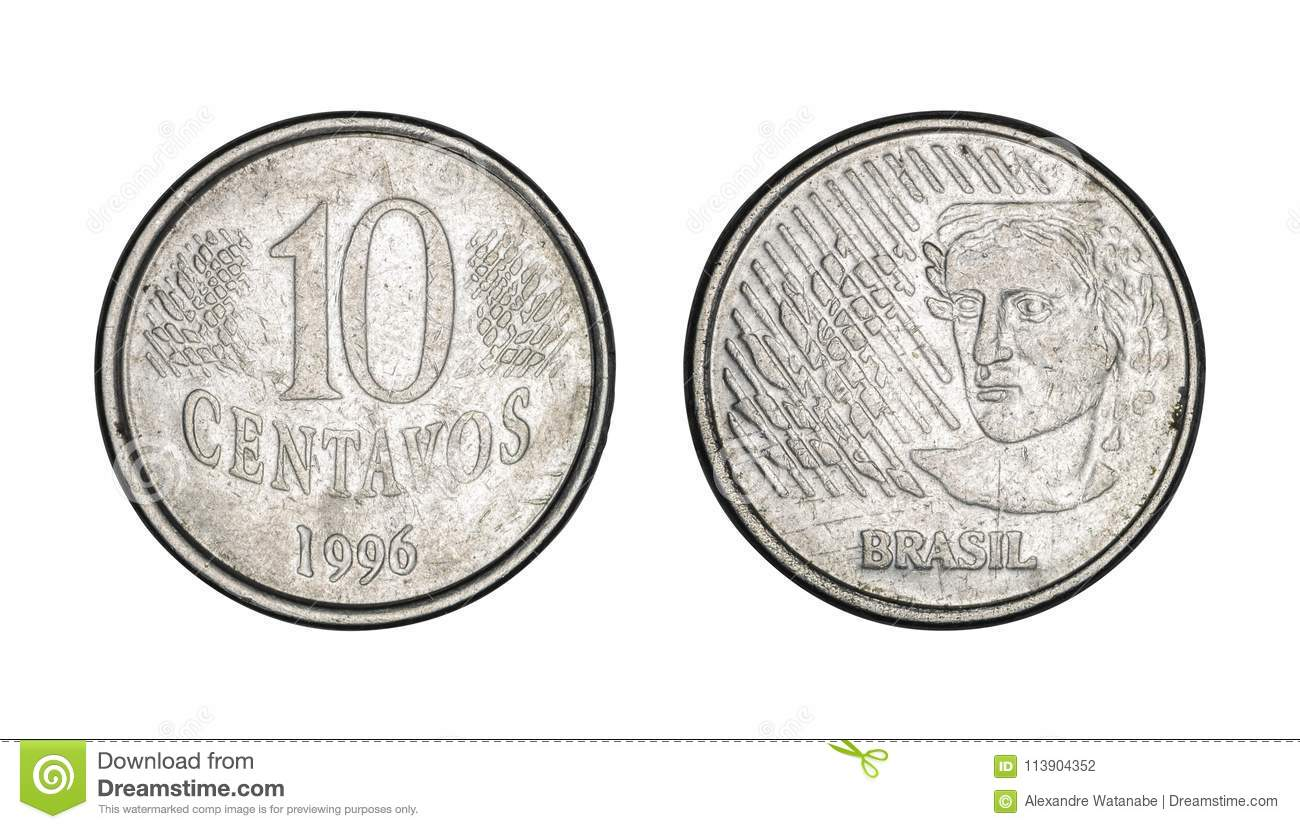 Ten cents brazilian real coin, front and back faces - Old Coins