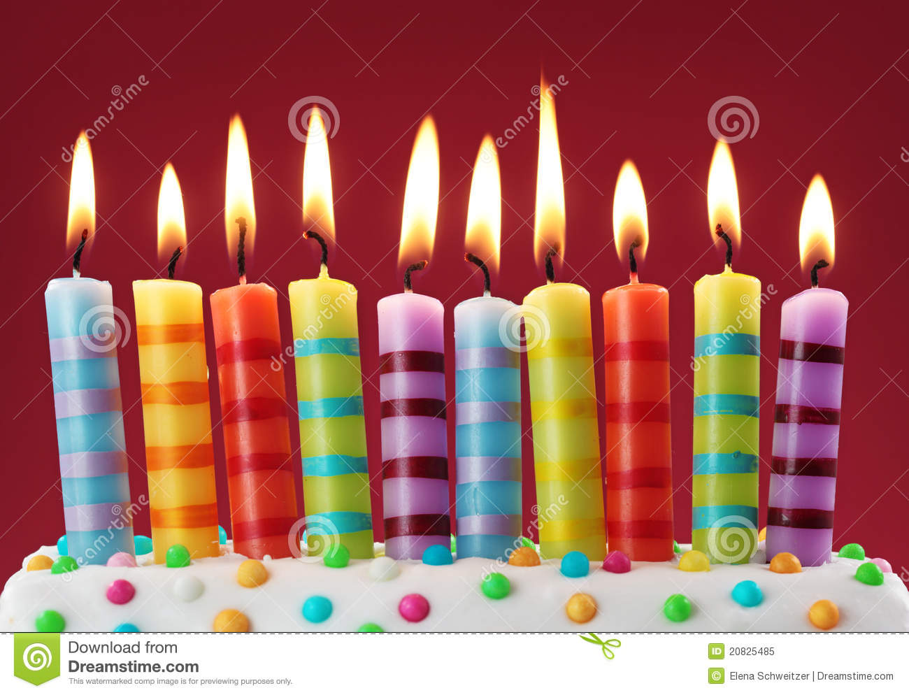 Ten Colorful Candles Stock Image Image Of Stripes