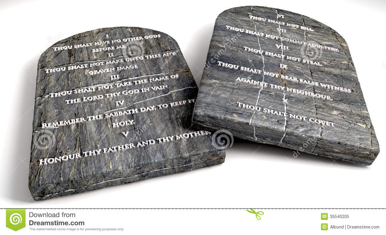 Two Stone Tablets With The Ten Commandments Inscribed On Them On An  Isolated Background
