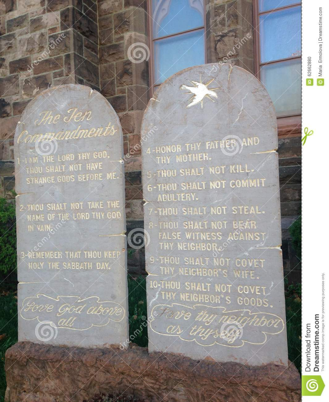 Download Ten Commandments Written On Stone Tablets In Front Of A Church.  Stock Photo
