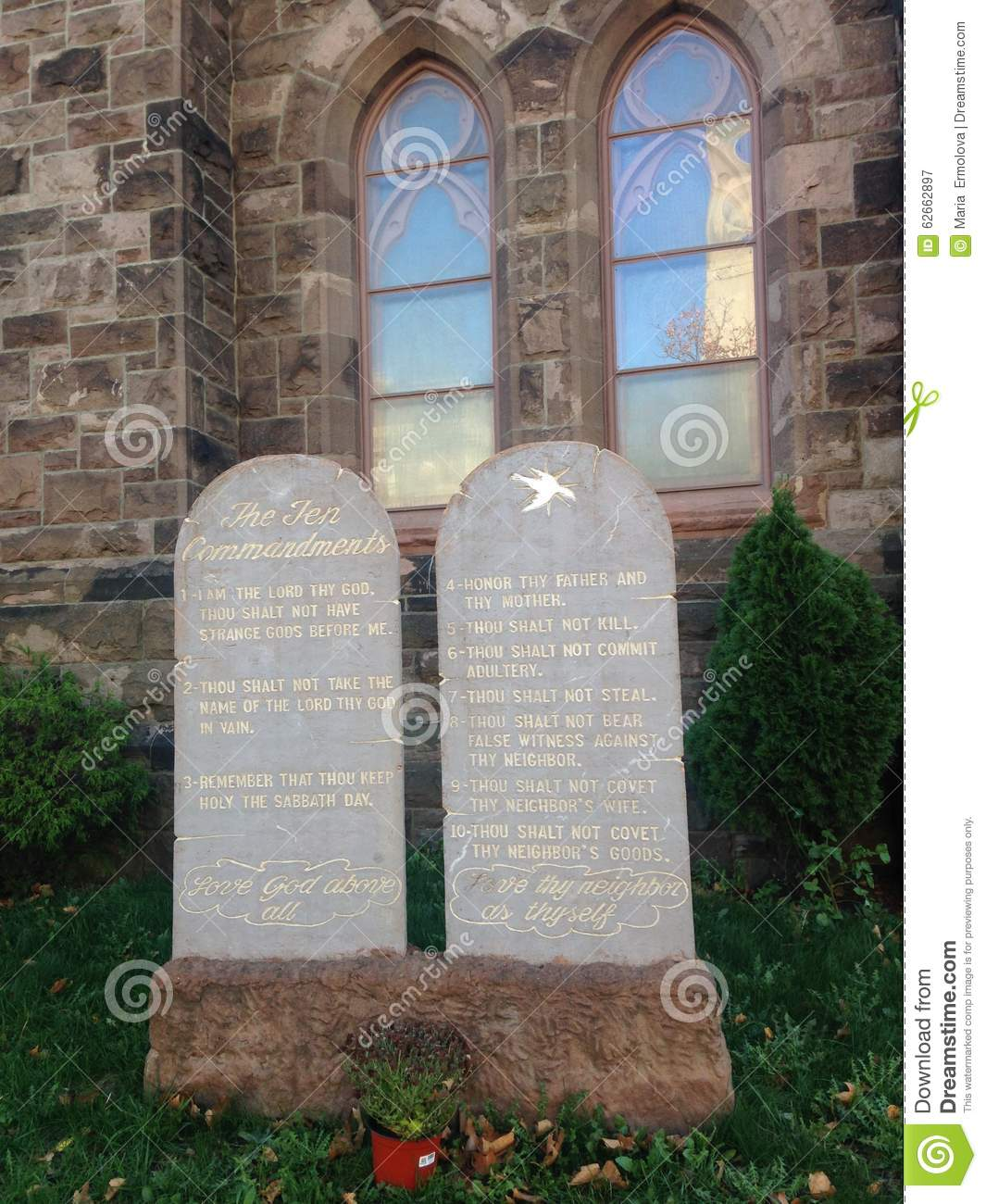 Download Ten Commandments Written On Stone Tablets In Front Of A Church.  Stock Image