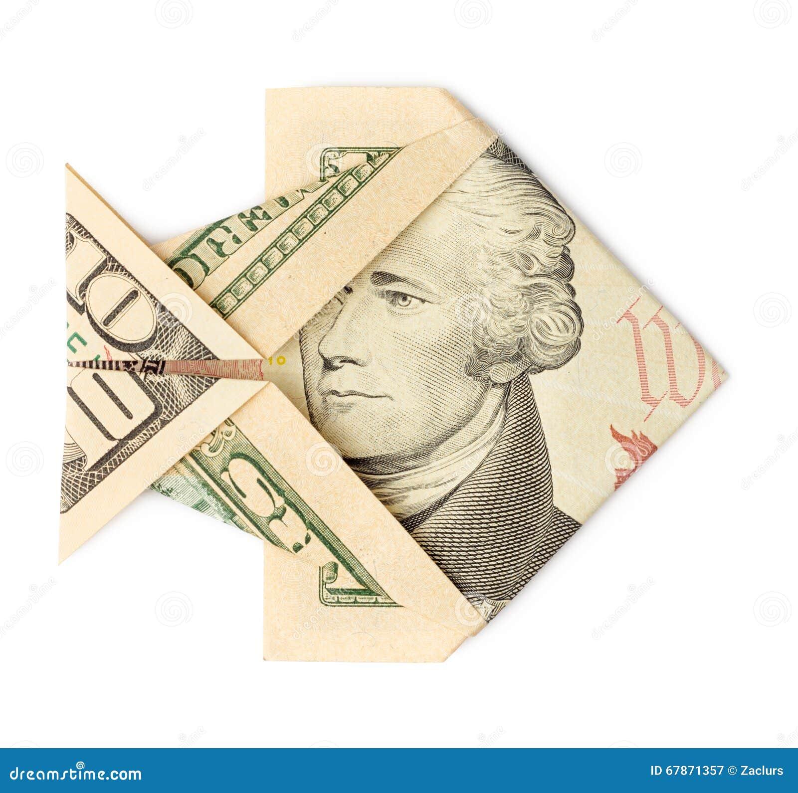 Ten Dollars Origami Fish Isolated Stock Image - Image of ... - photo#25
