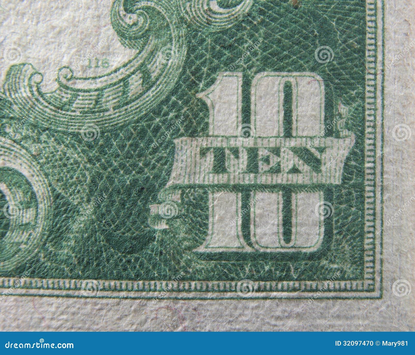 Download Dj Dollar Bill: Ten 10 Dollars US Currency Stock Photo. Image Of America