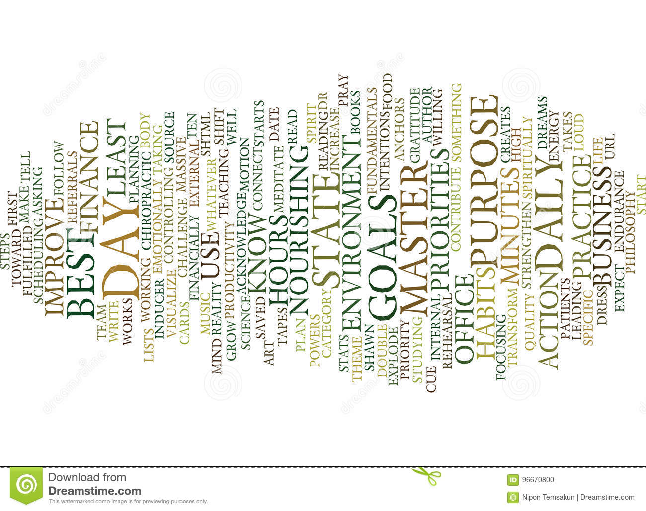 Ten Daily Habits To Explode Your Practice Text Background Word Cloud Concept