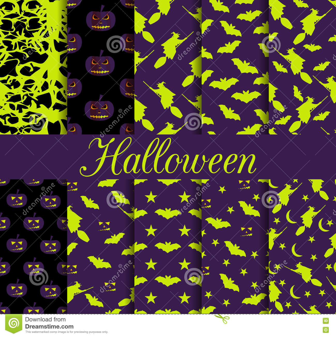 Ten Halloween seamless patterns. Pattern with Lamp Jack, witch with bats. Halloween symbols.