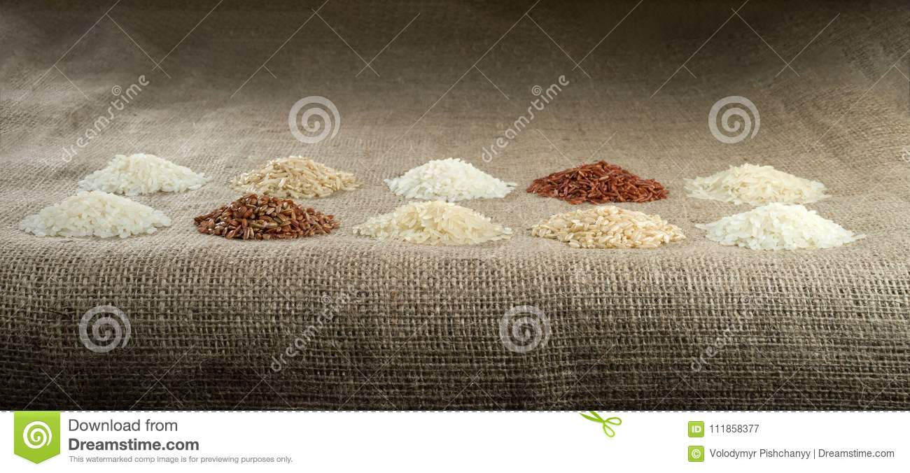 Ten heaps of rice of different varieties