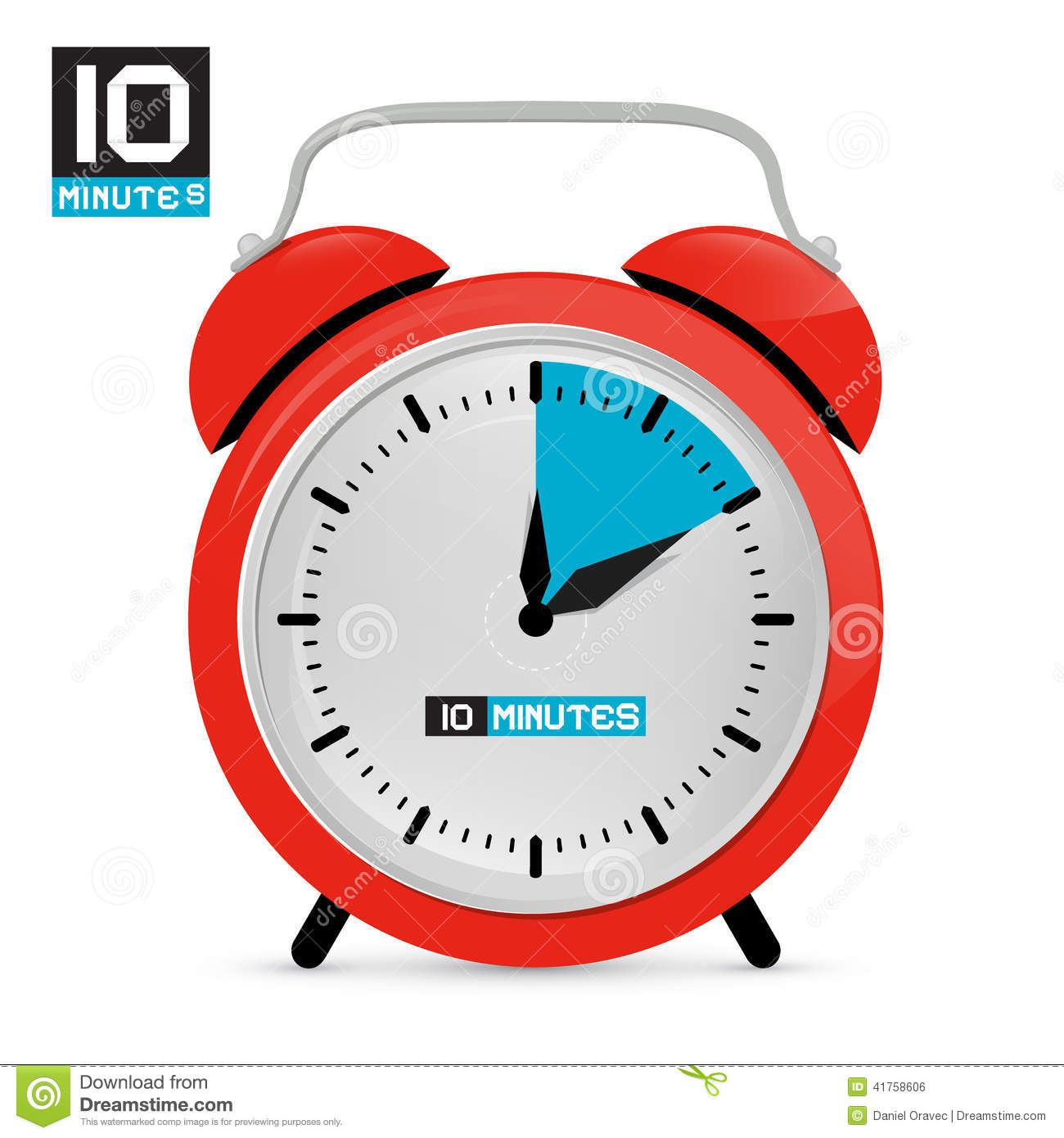 Ten 10 Minutes Red Alarm Clock Stock Vector - Image: 41758606