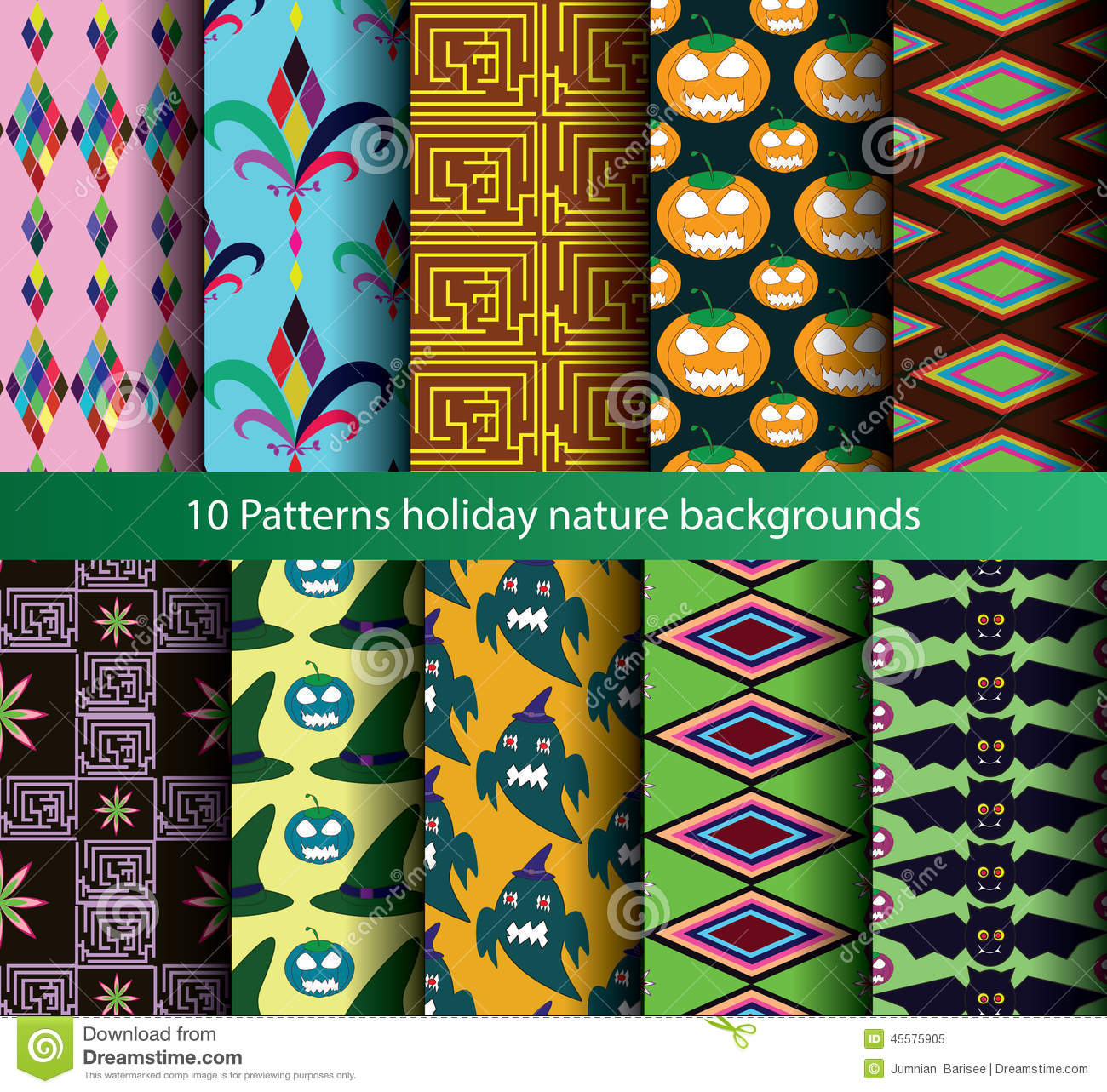 Ten patterns backgrounds nature seamless.