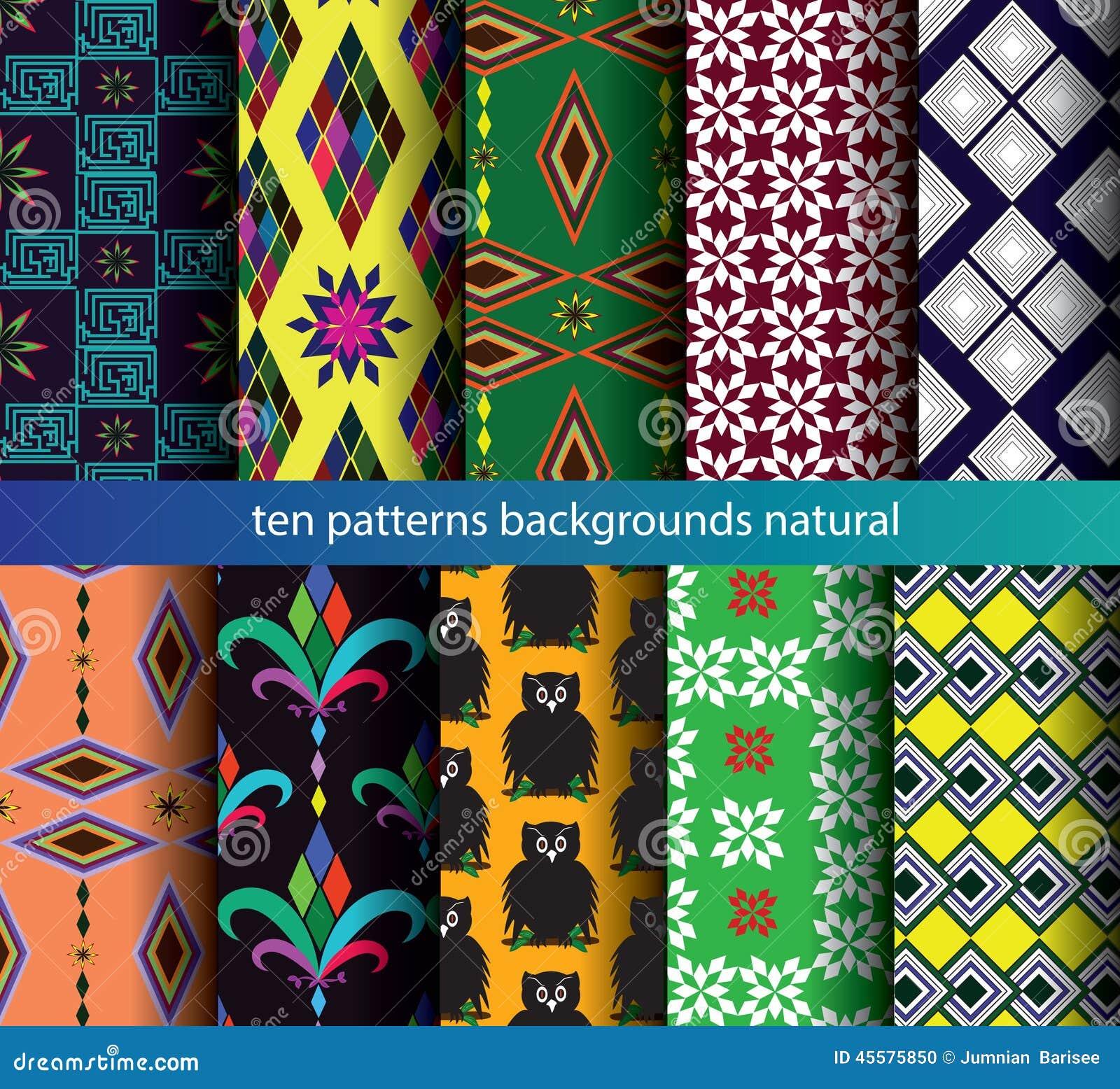 Ten patterns backgrounds seamless.