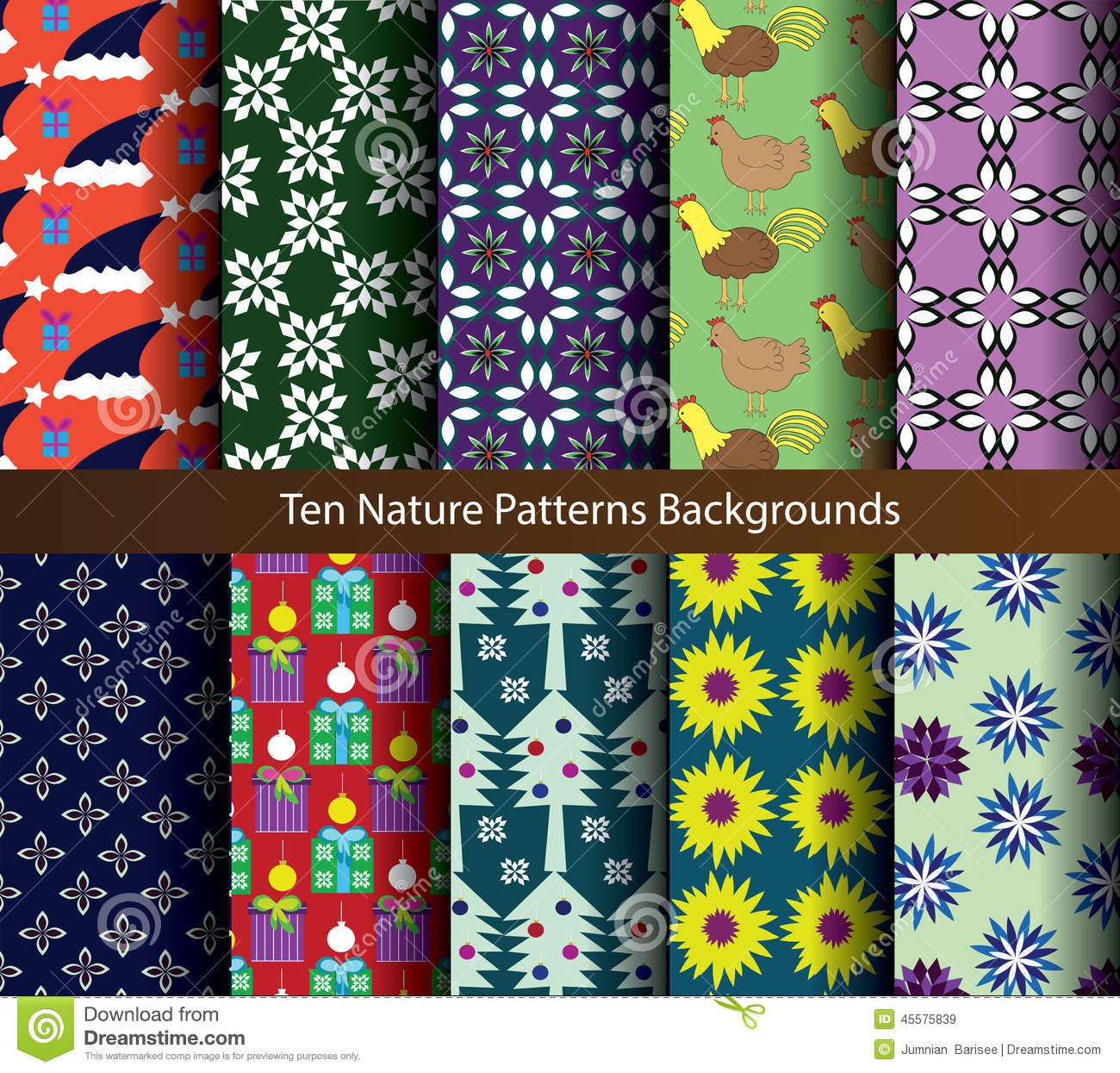 Ten patterns nature holiday backgrounds.