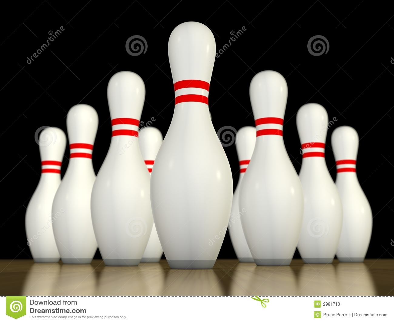 Ten pin bowling pins ready to be bowled over. DOF focussed on front ...