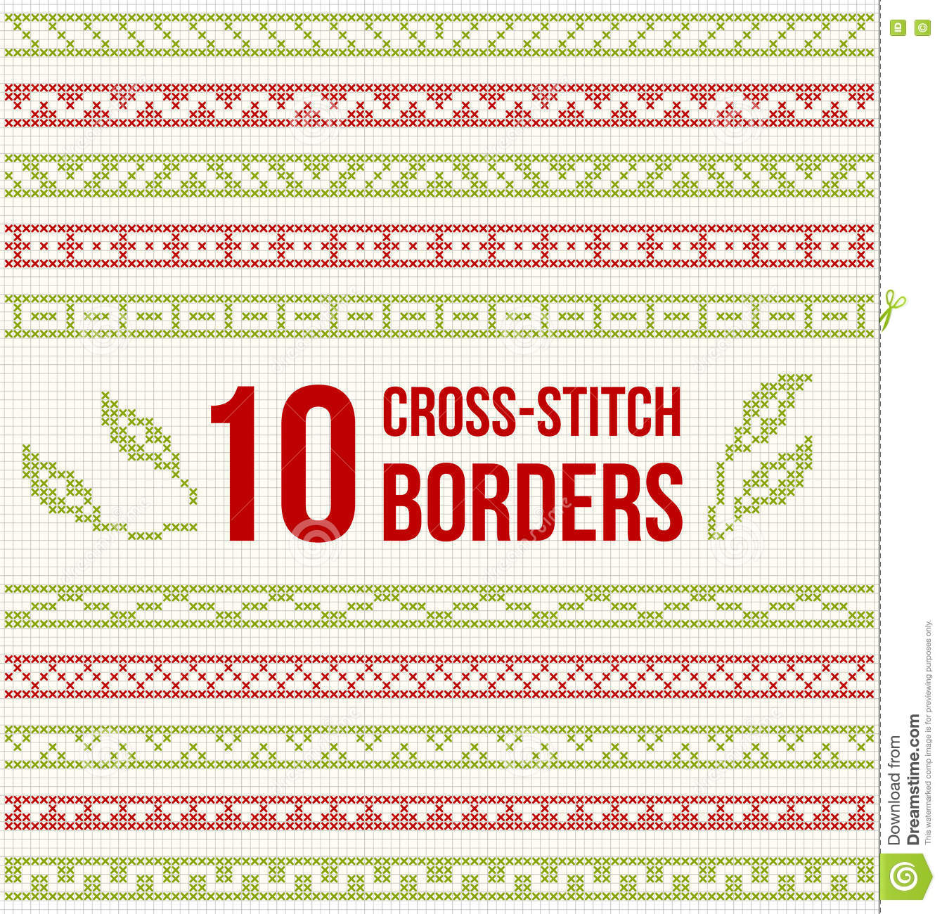 Ten Seamless Borders For Cross Stitch Embroidery Stock Vector