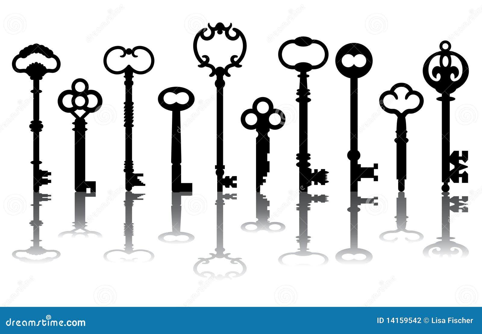 Ten Skeleton Key Icons Stock Vector Illustration Of House