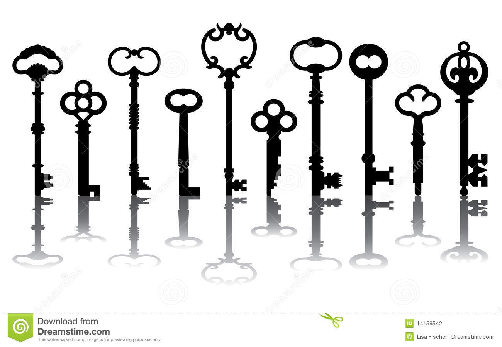 Vintage Key Clip Art Ten Skeleton Key Icons