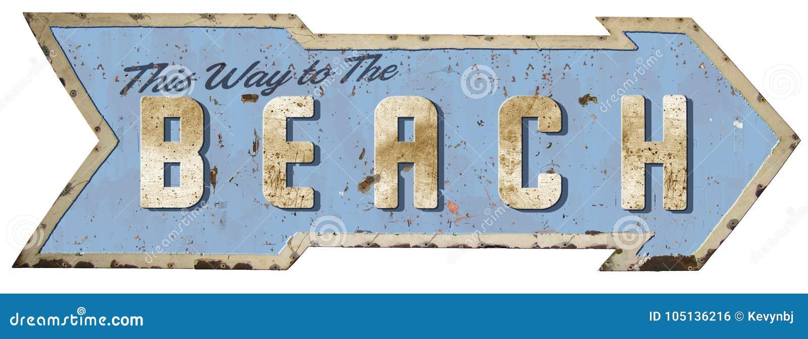 Ten sposób Plażowy cyna znak