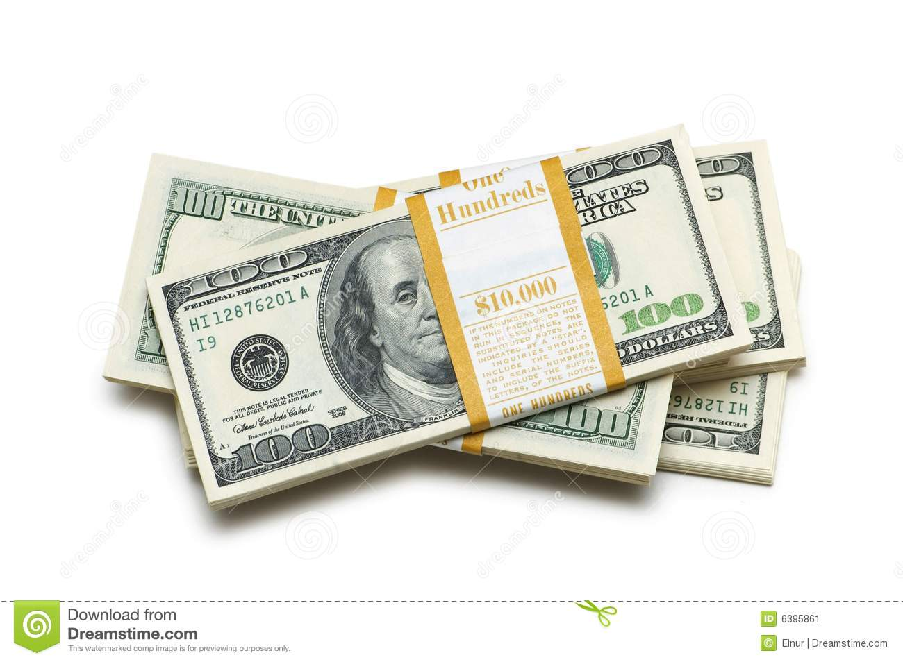 Ten thousand dollar stacks Stock Image