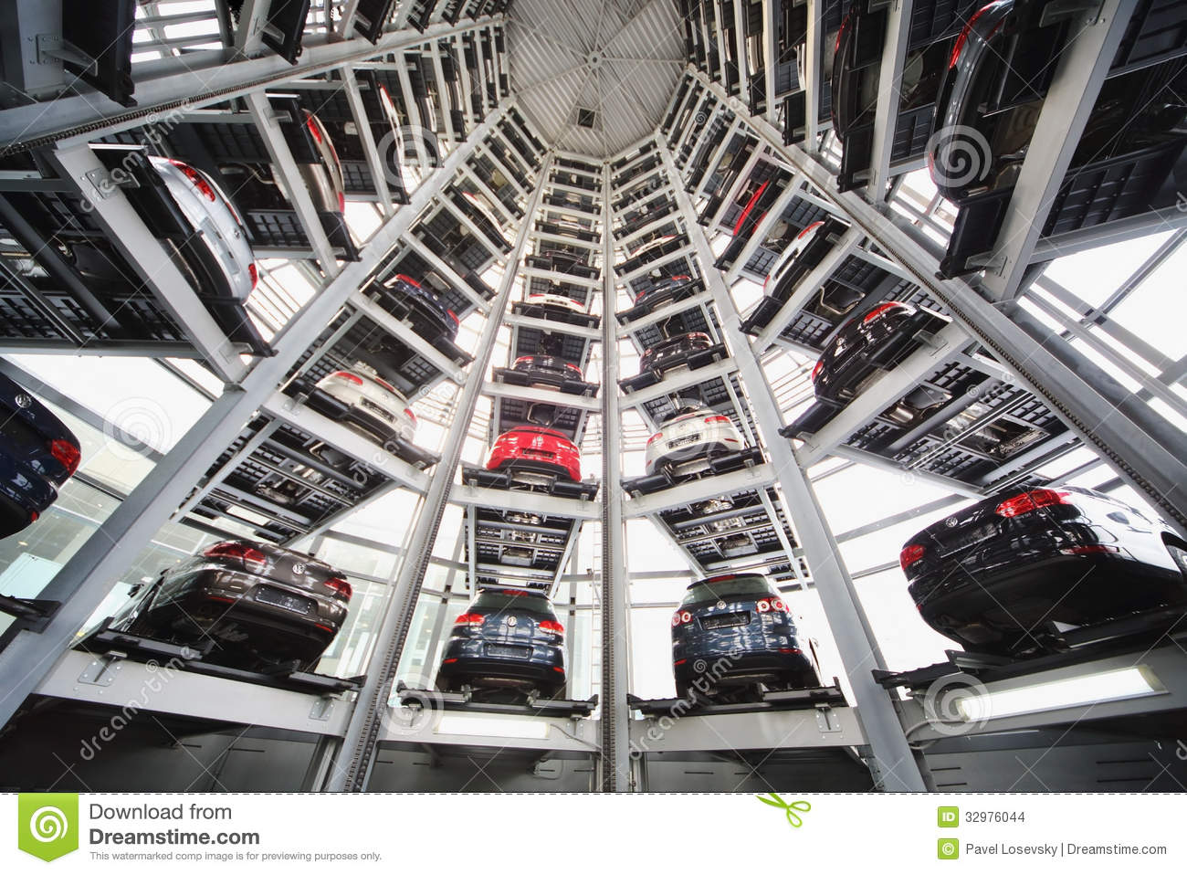 Ten Tier Automated System For Presentation And Storage Of Cars Editorial Stock Image Image Of