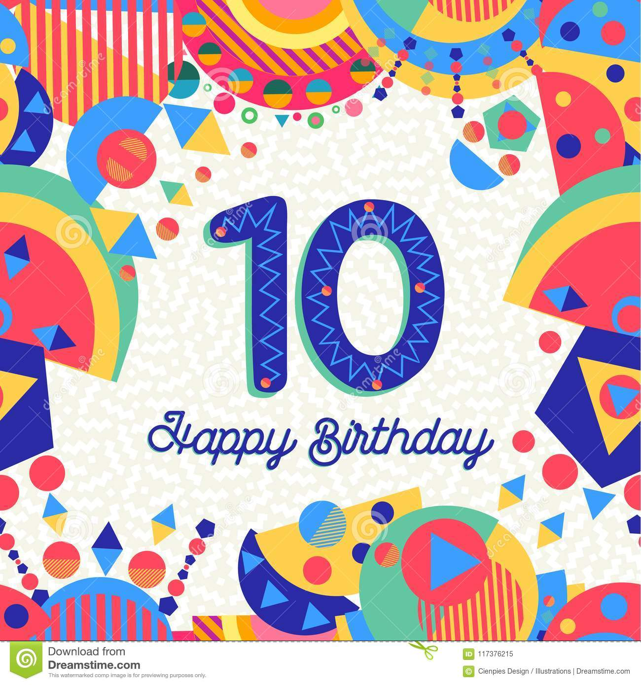 Ten 10 year birthday party greeting card number