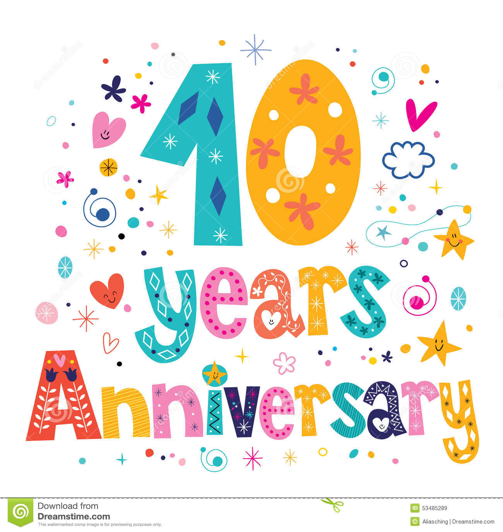 Ten Years Anniversary Celebration Decorative Lettering
