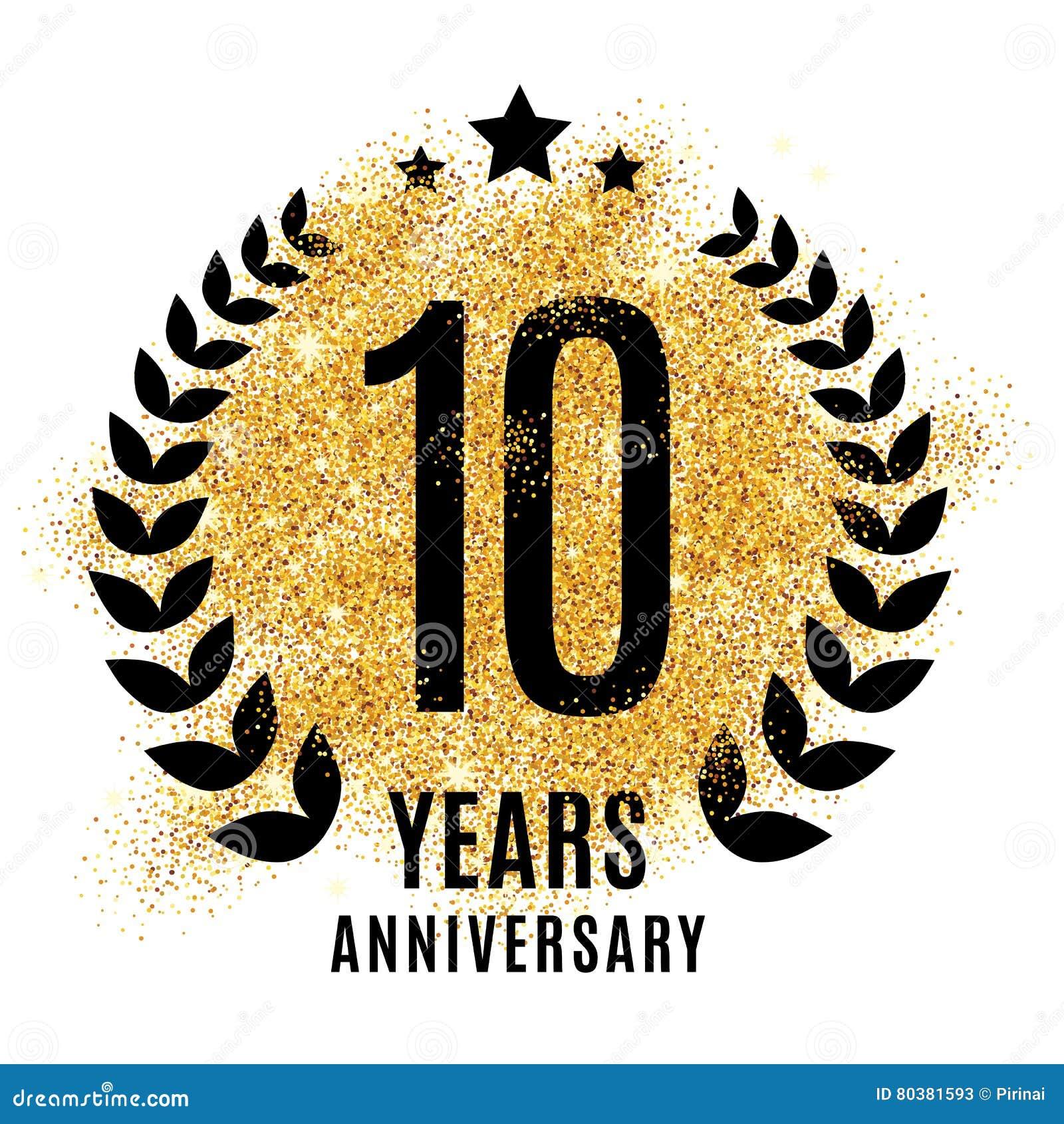 Ten Years Golden Anniversary Stock Illustration Illustration Of
