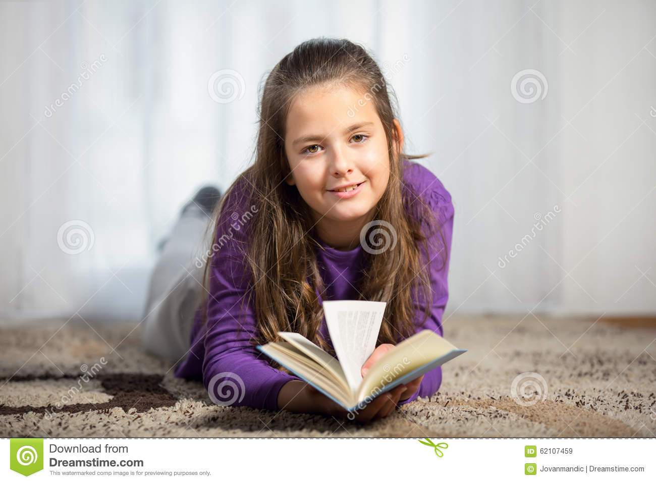 Ten Years Old Girl With A Books Stock Image - Image of