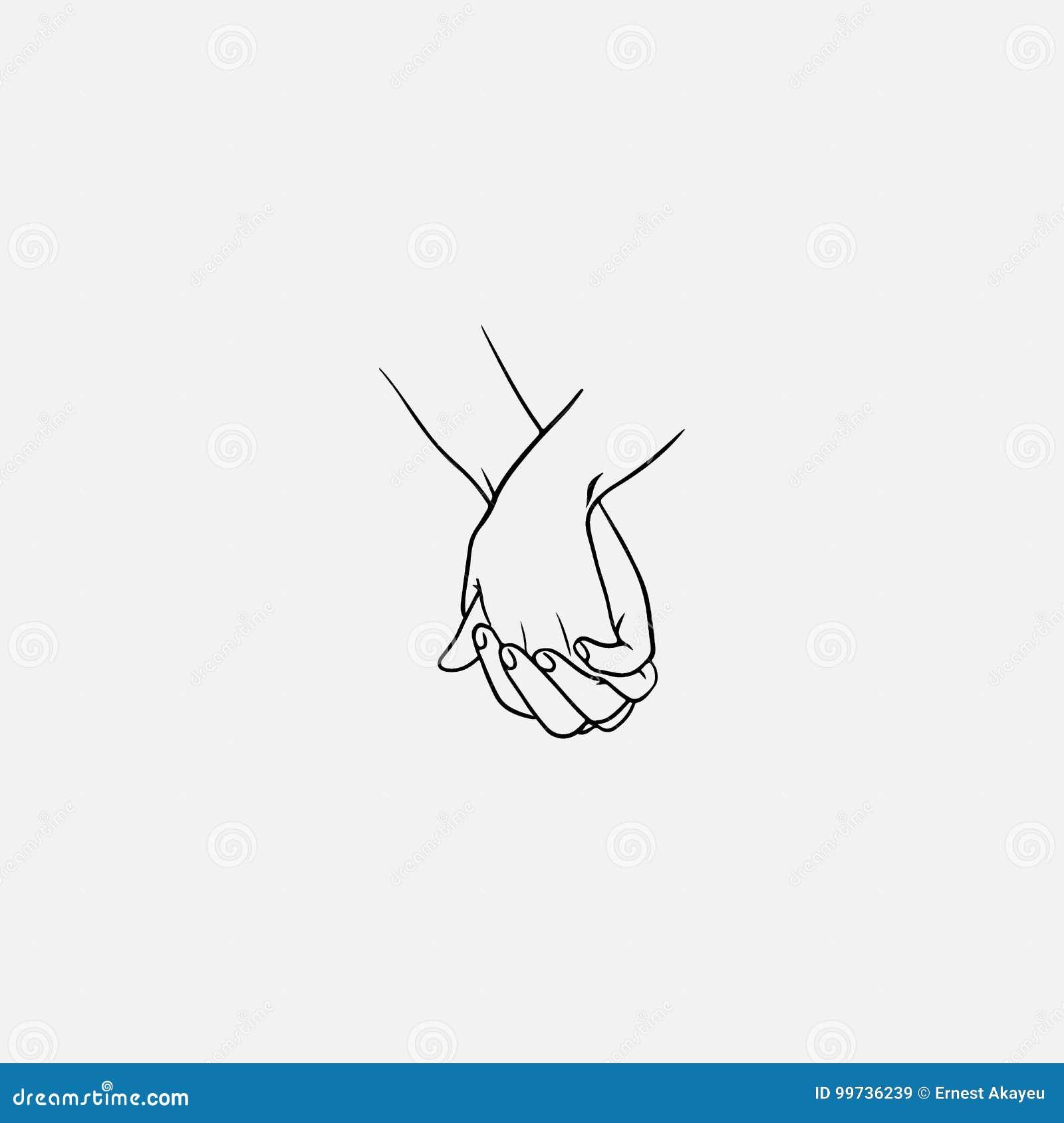 Tenant des mains avec les doigts enclenchés ou entrelacés dessinés par les lignes noires d isolement sur le fond blanc Symbole de
