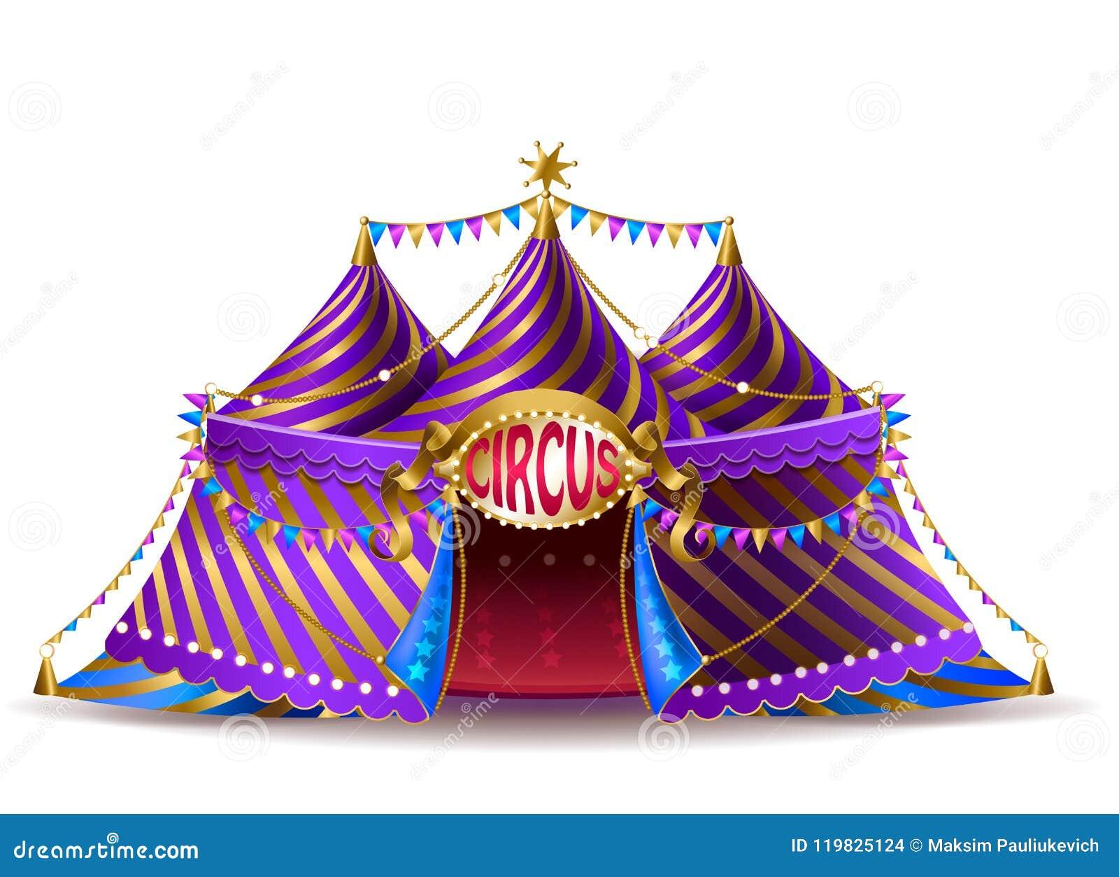 Tenda do circus listrada do vetor para desempenhos