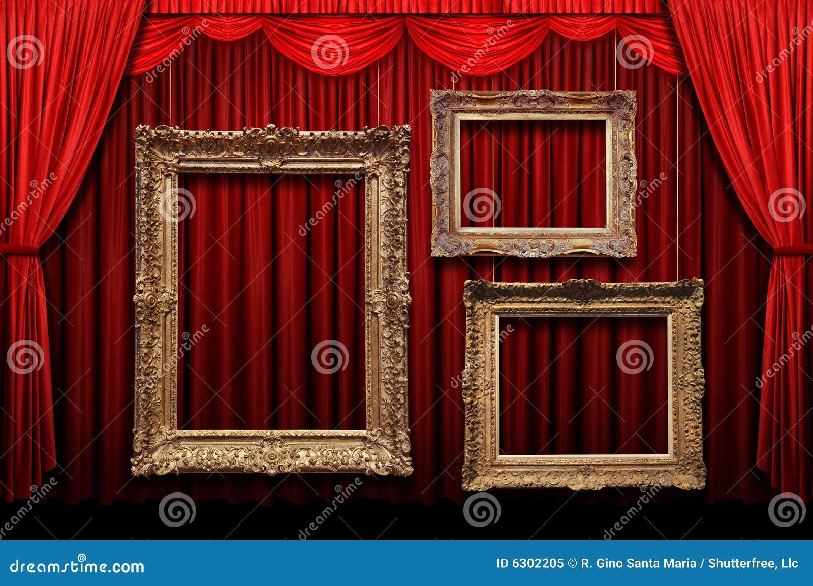 Tenda rossa della fase con i blocchi per grafici dell oro