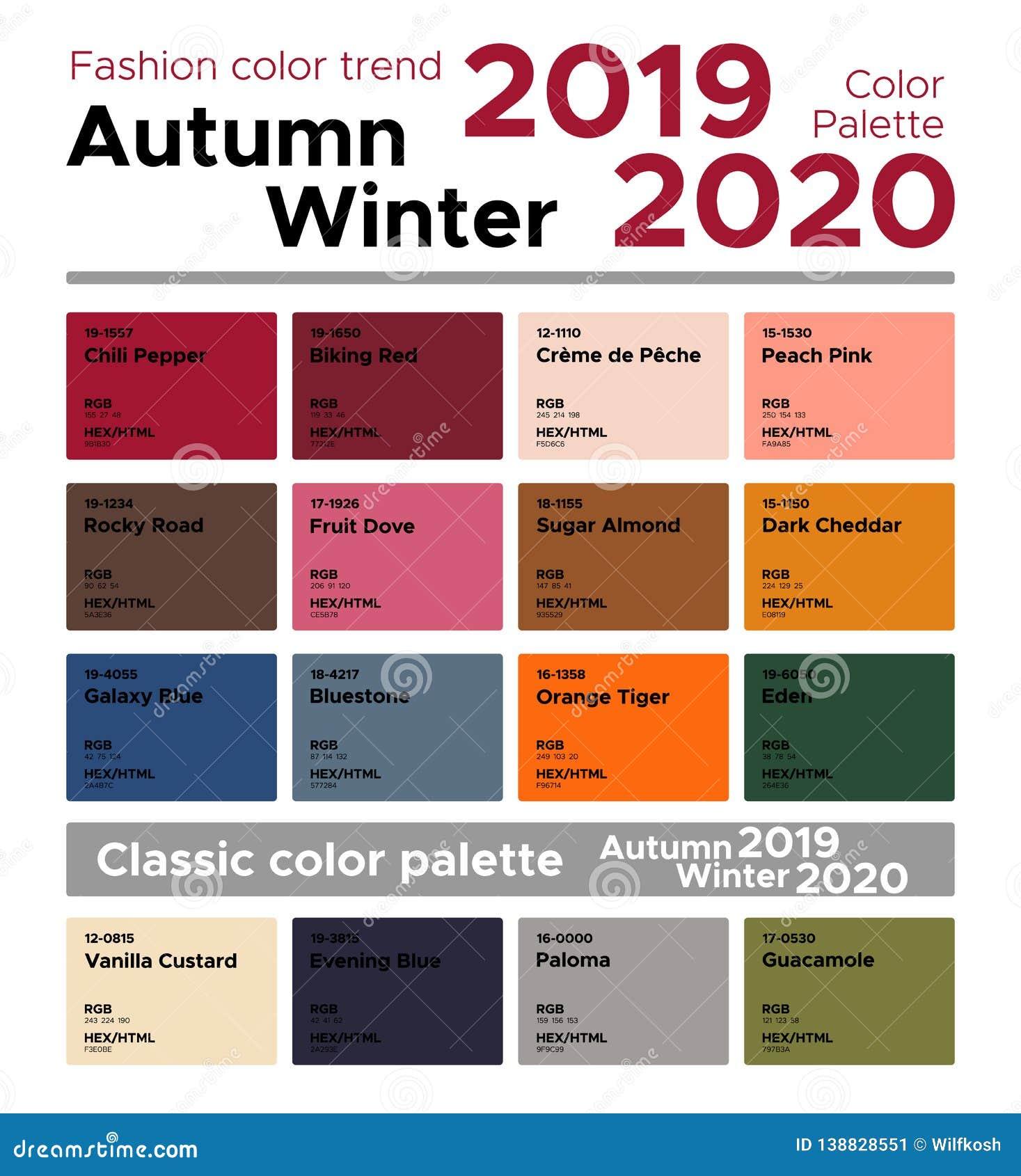 Tendance Autumn Winter De Couleur De Mode 2019 2020 Et Palette De