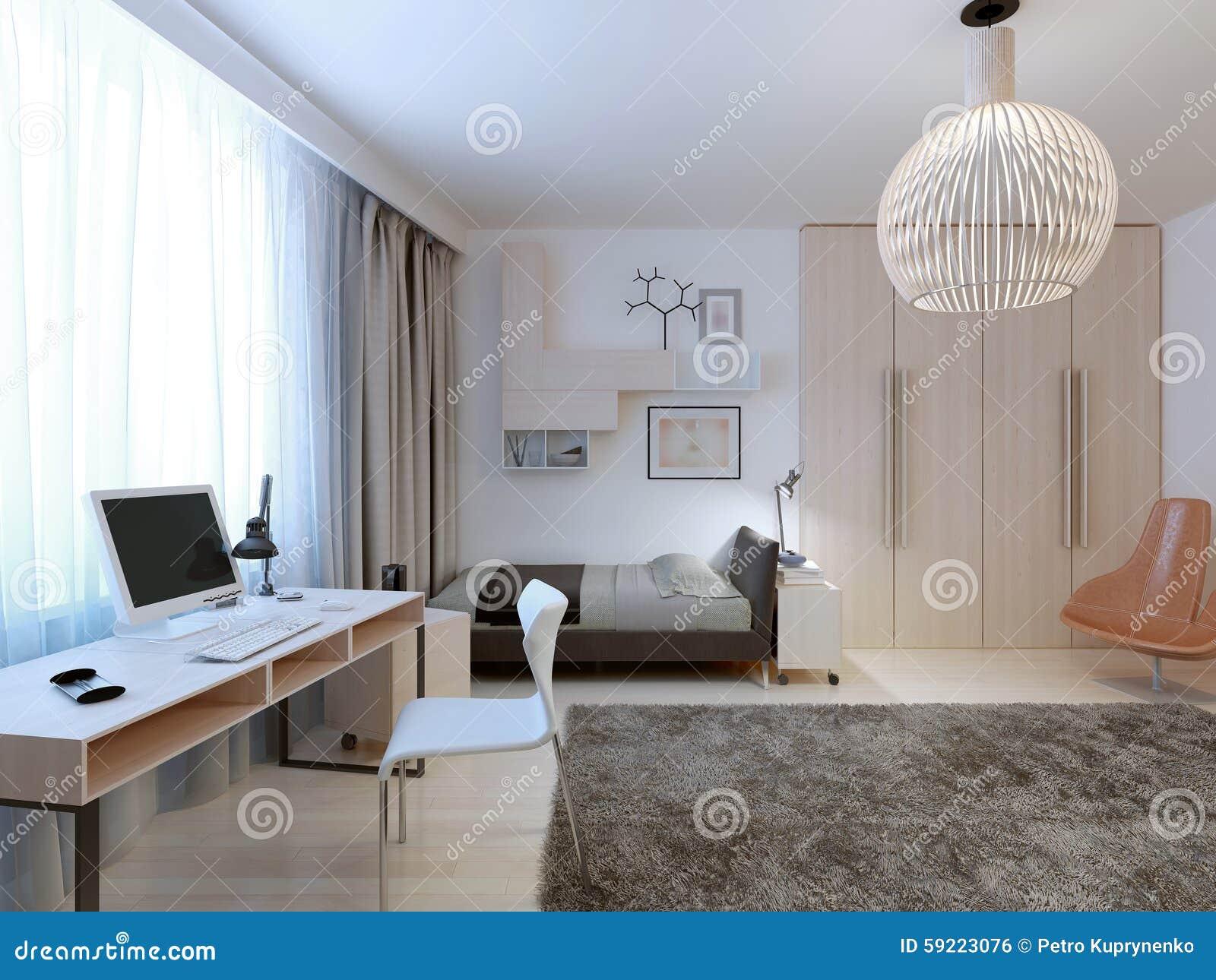 Tendance Moderne Spacieuse De Chambre à Coucher Photo stock ...
