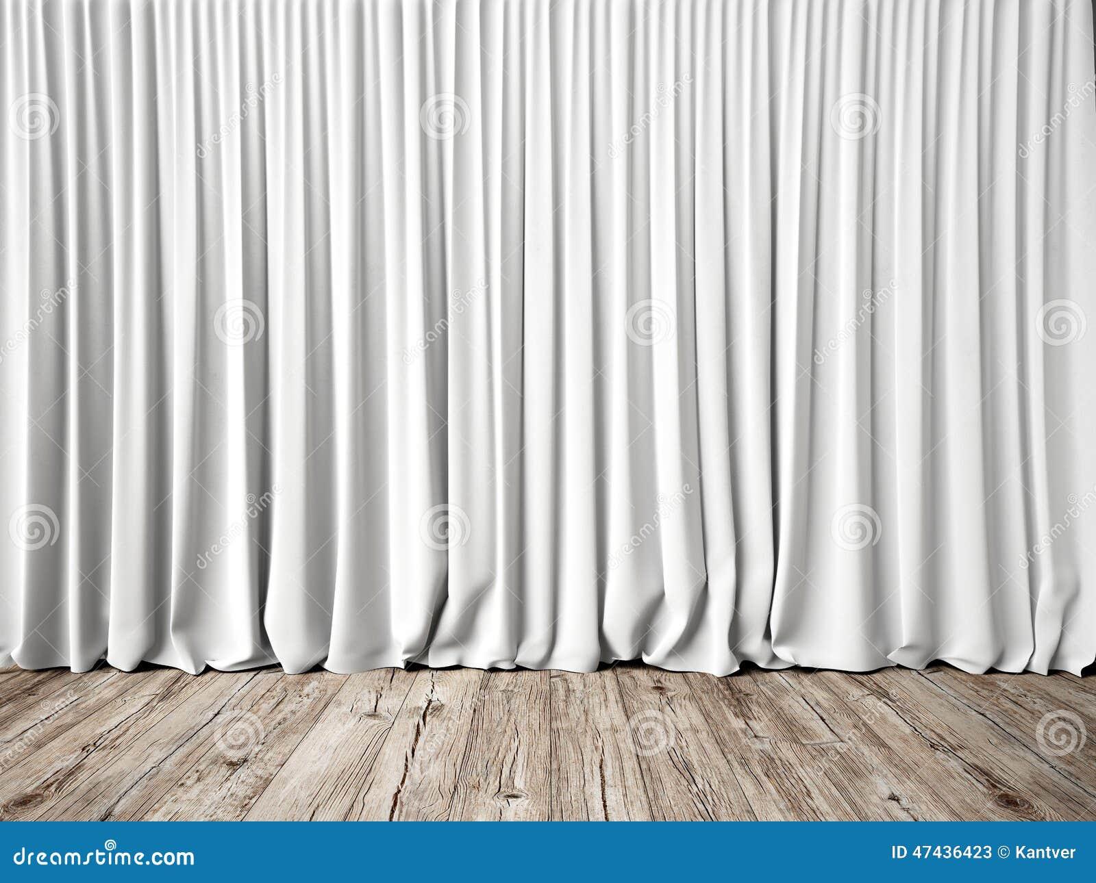 Tende bianche e pavimento di legno fotografia stock for Tende bianche e grigie