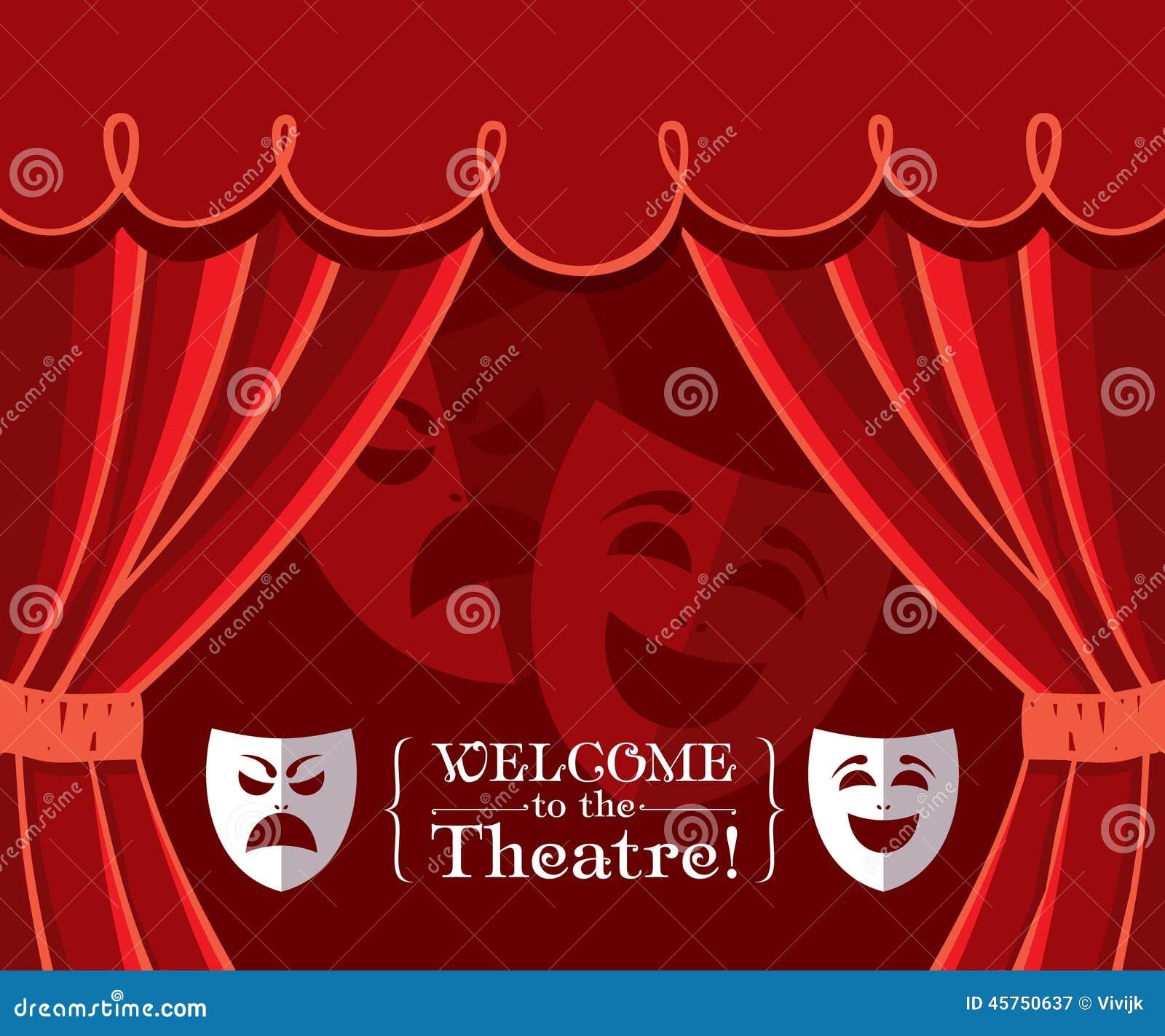Tende del teatro con le maschere