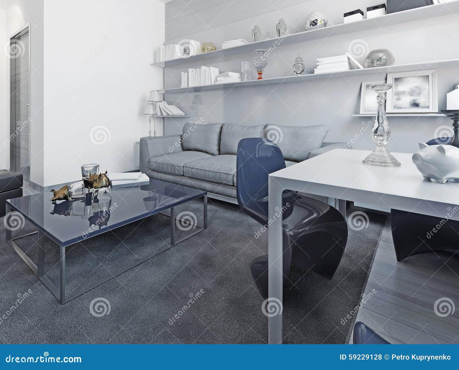 Download Tendencia Blanca De La Sala De Estar Stock de ilustración - Ilustración de gris, interior: 59229128