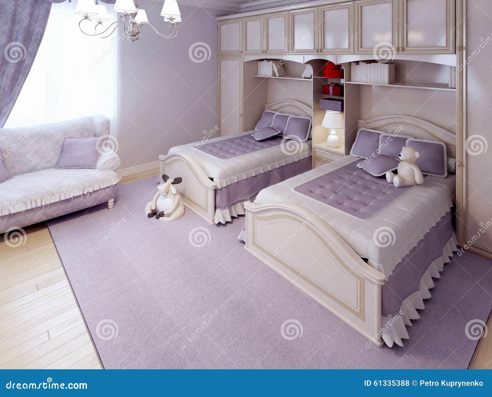 Letti Di Lusso Per Bambini : Tendenza classica della camera da letto dei bambini illustrazione