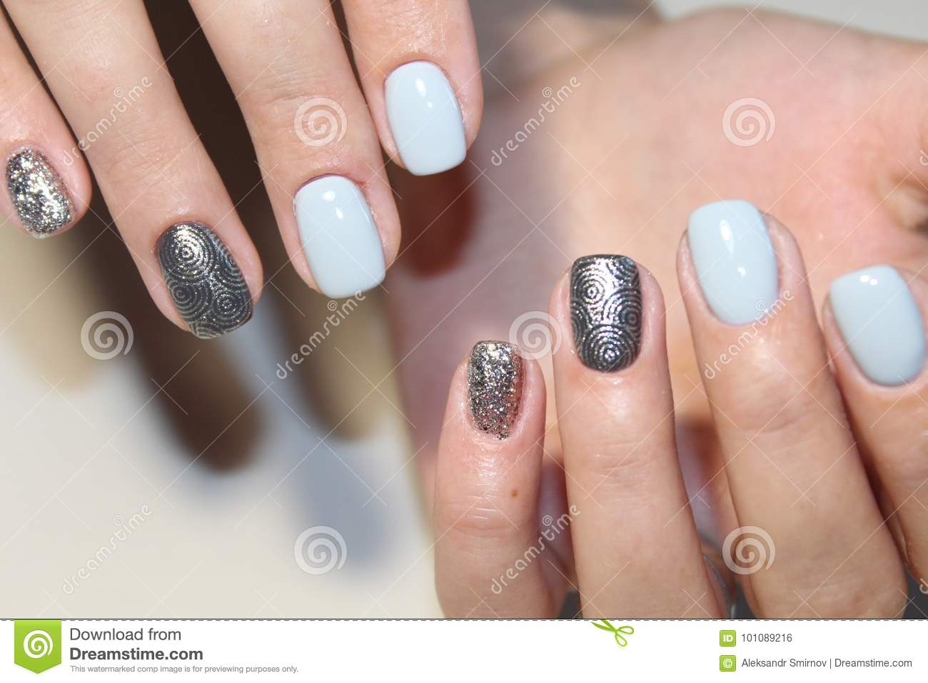 Tender Design Manicure For Long Nails Stock Photo - Image of acrylic ...