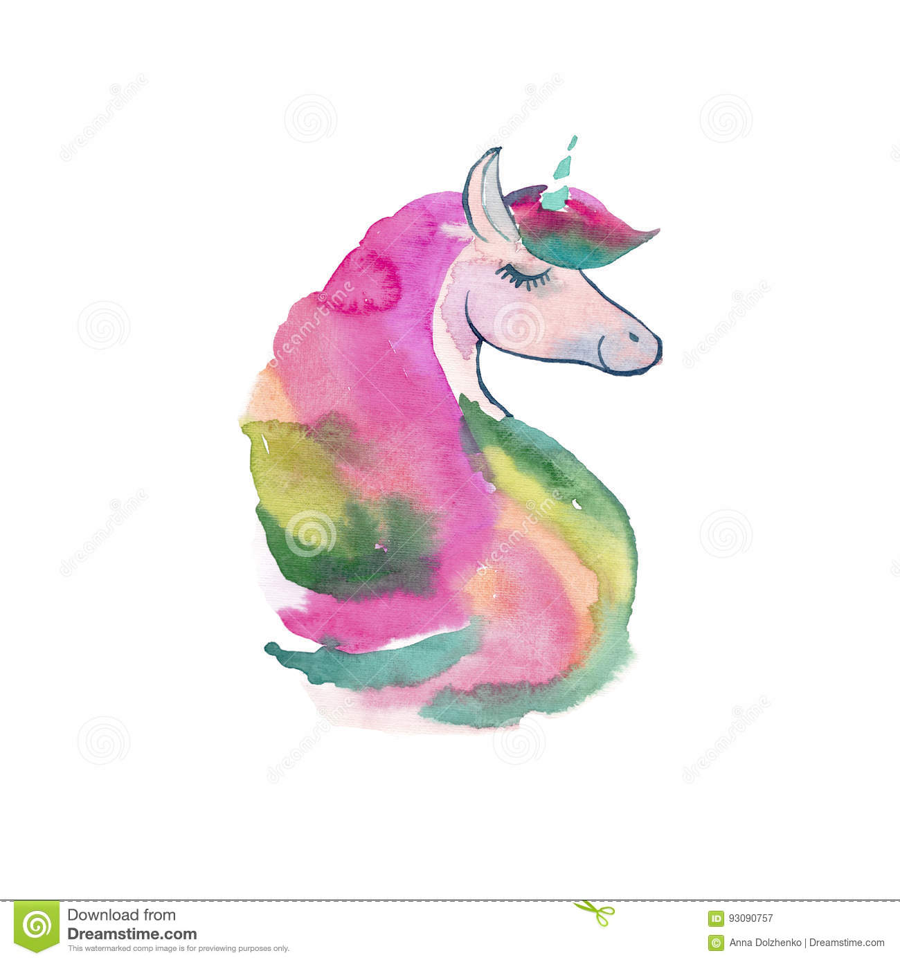 Tender Lovely Cute Fairy Magical Colorful Unicorn With Spring Pastel Beautiful Flowers