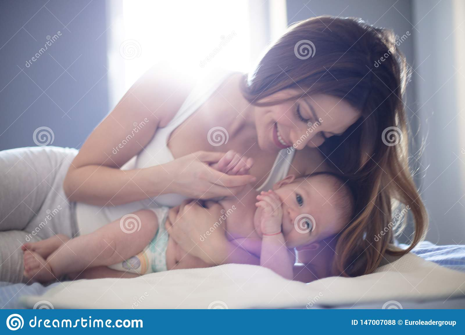 Tender moments with mom