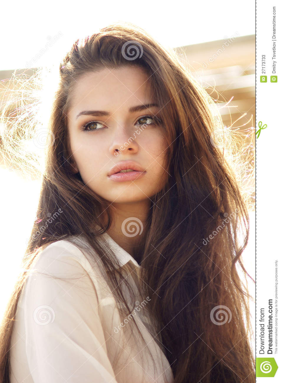 Tender outdoor portrait of young attractive, tender, sensual and ...