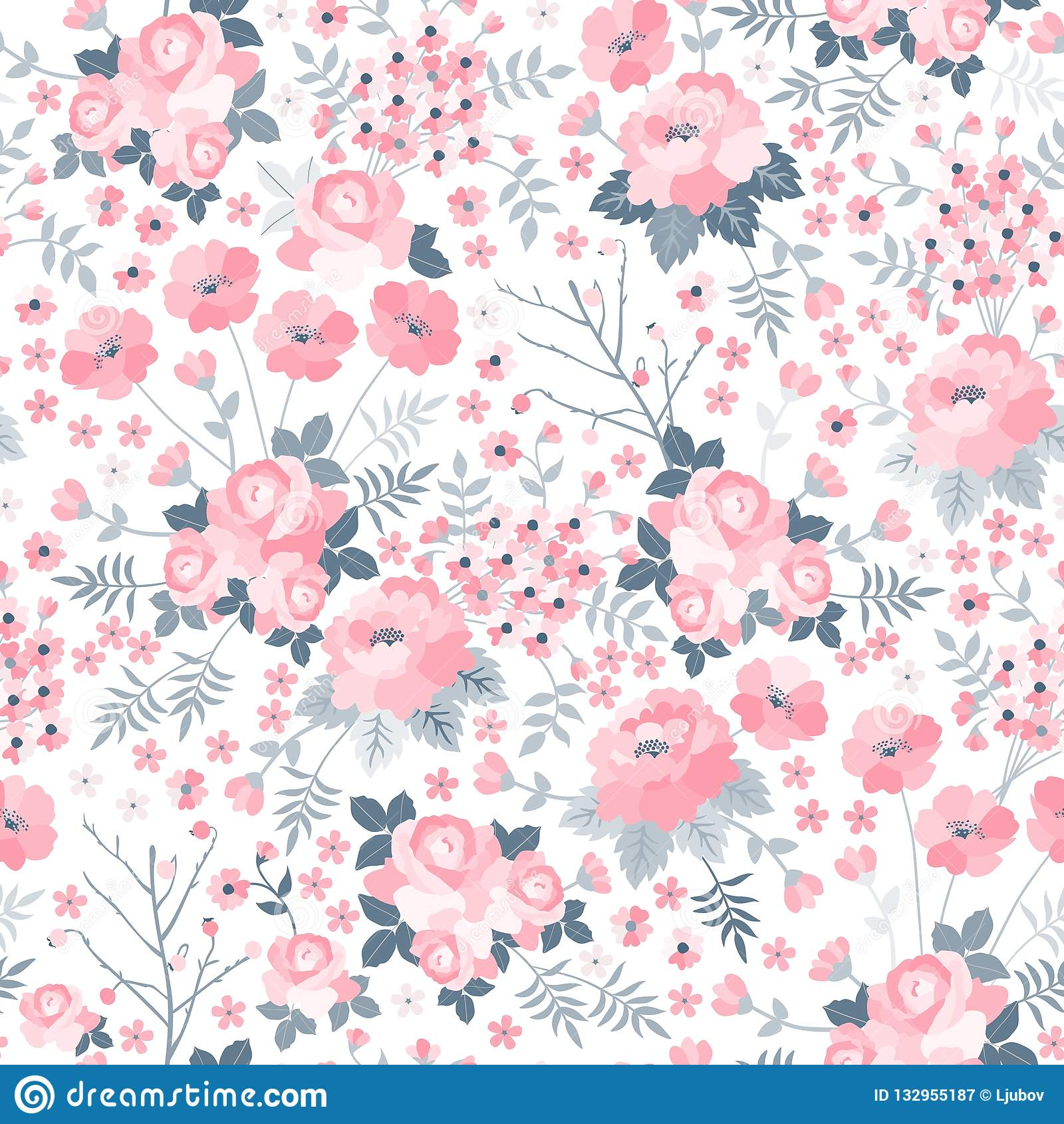 Tender seamless pattern with pink flowers on white background. Ditsy floral illustration.