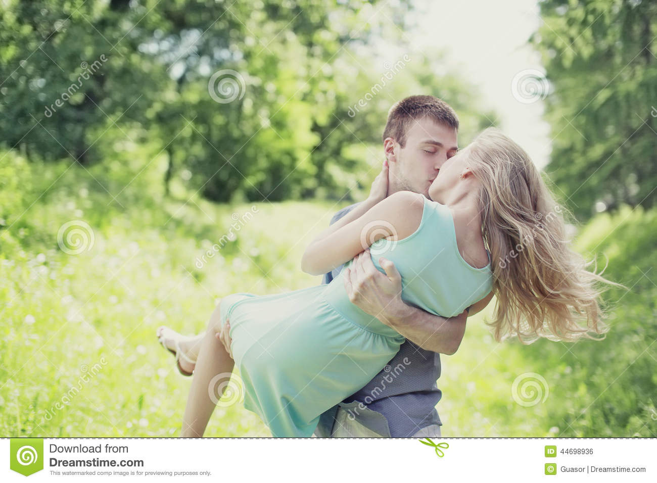 Tender sweet kiss couple outdoors, love, relationships