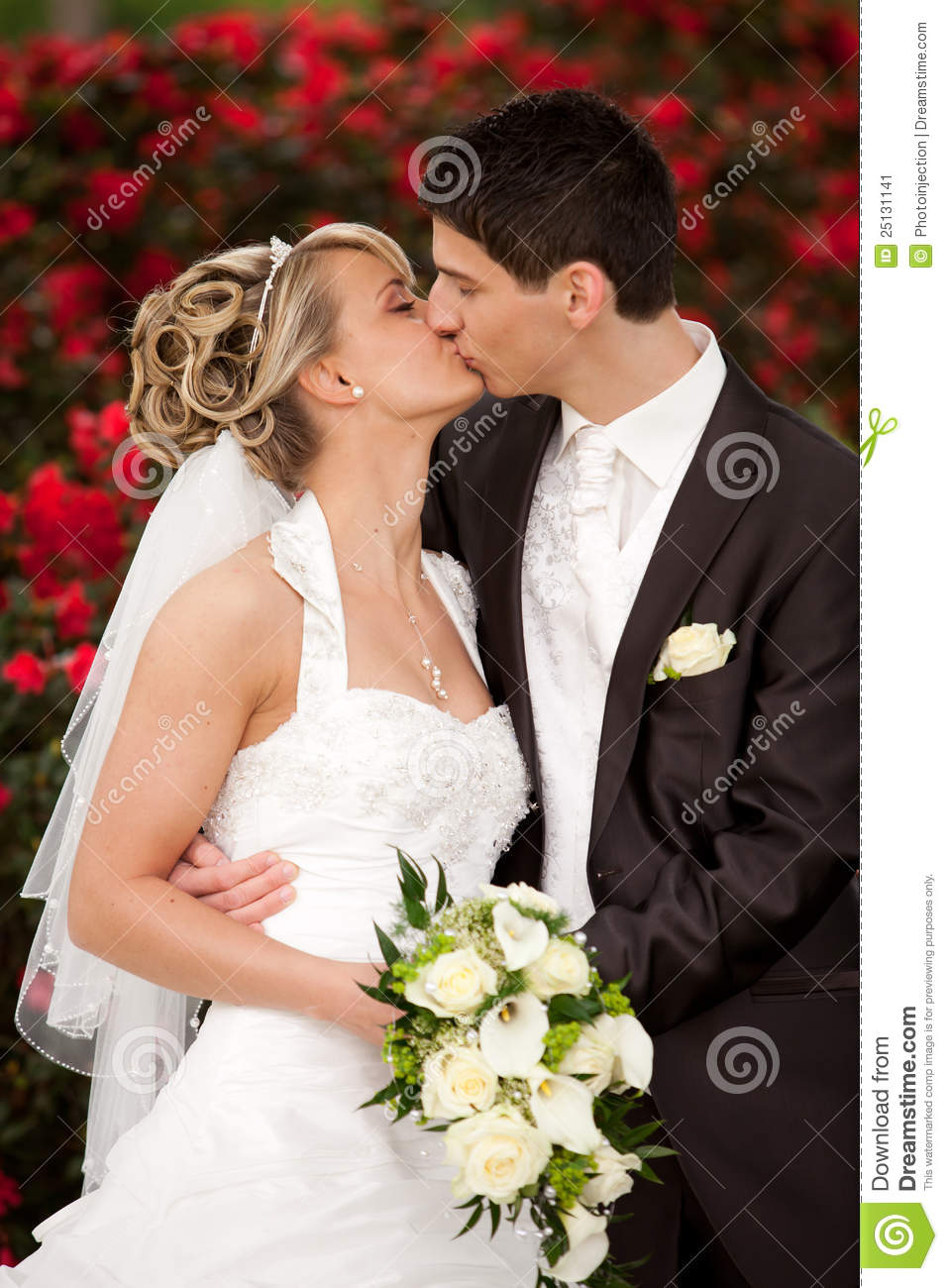 Tender wedding kiss red roses stock image image 25131141 royalty free stock photo download tender wedding kiss junglespirit Image collections