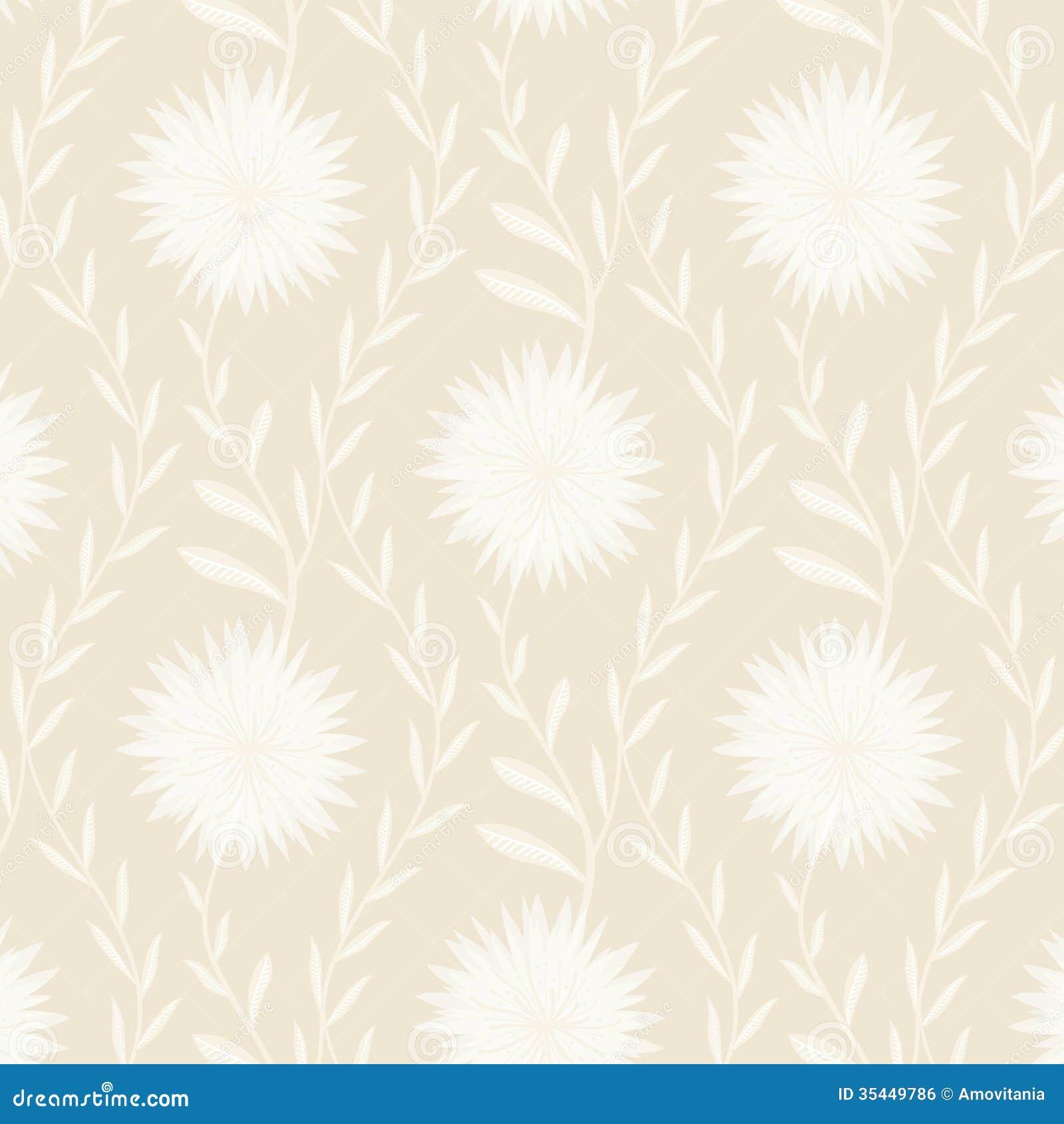 Tender White Flower Pattern On Light Background Royalty