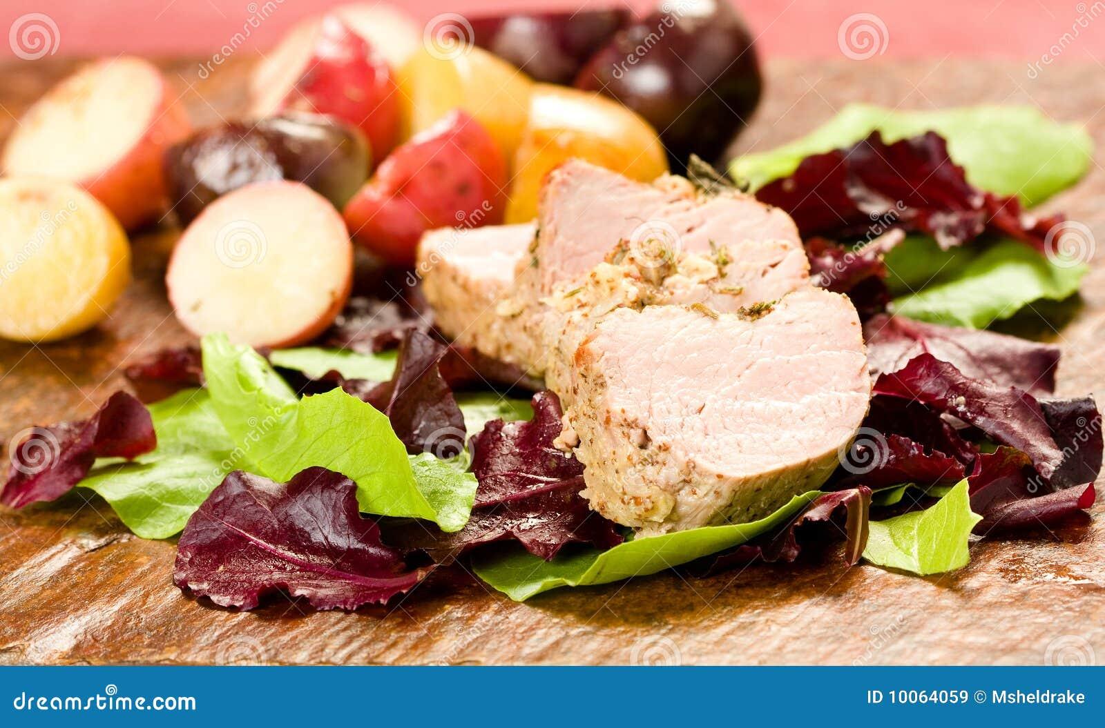 Tenderloin de carne de porco Encrusted erva