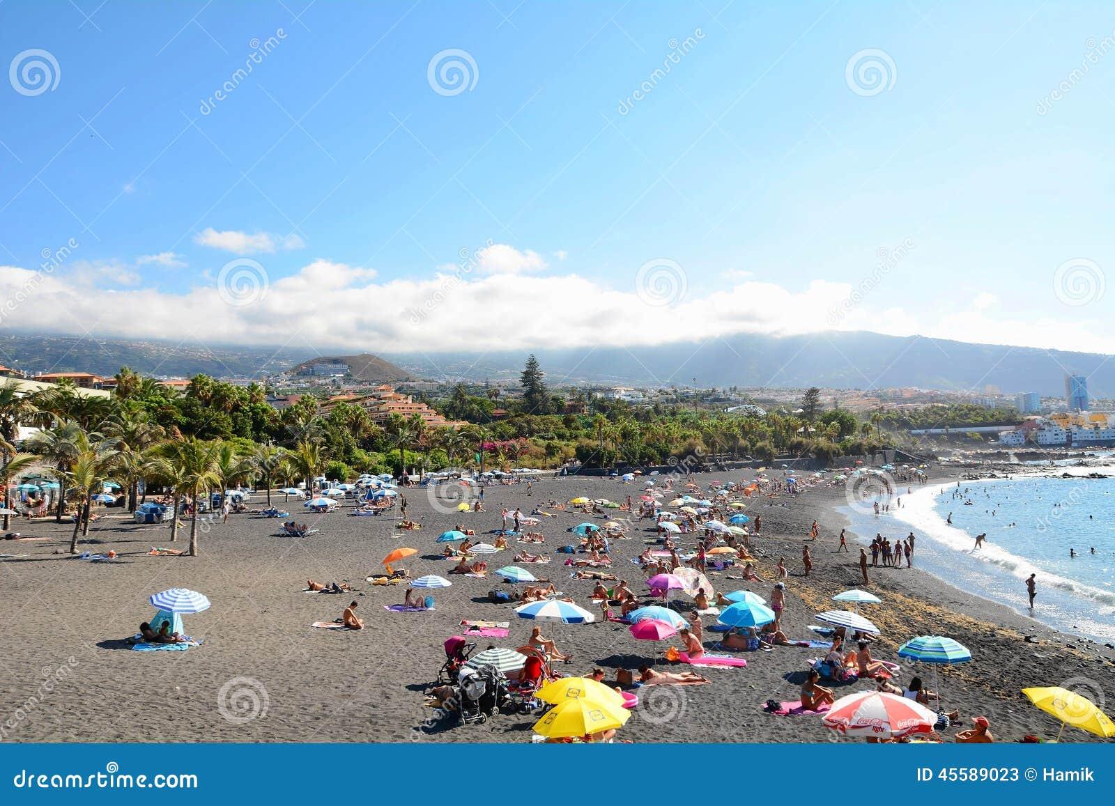 Tenerife beach editorial stock photo image 45589023 - Playa jardin puerto de la cruz tenerife ...