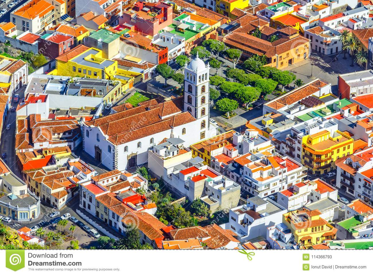 Tenerife, Canary islands, Spain: Overview of the beautiful town with Church of Santa Ana
