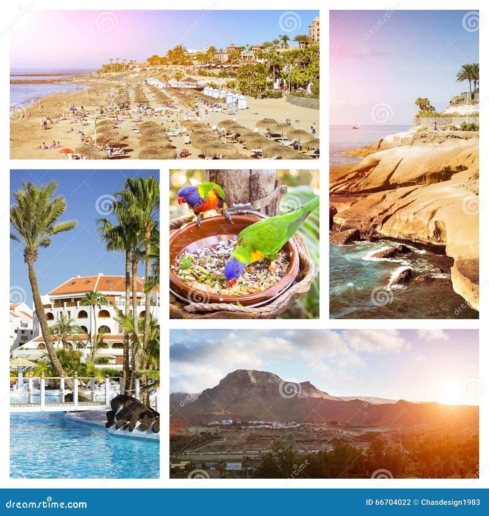 Tenerife Collage, Sunny Beach Travel Vacation Stock Photo