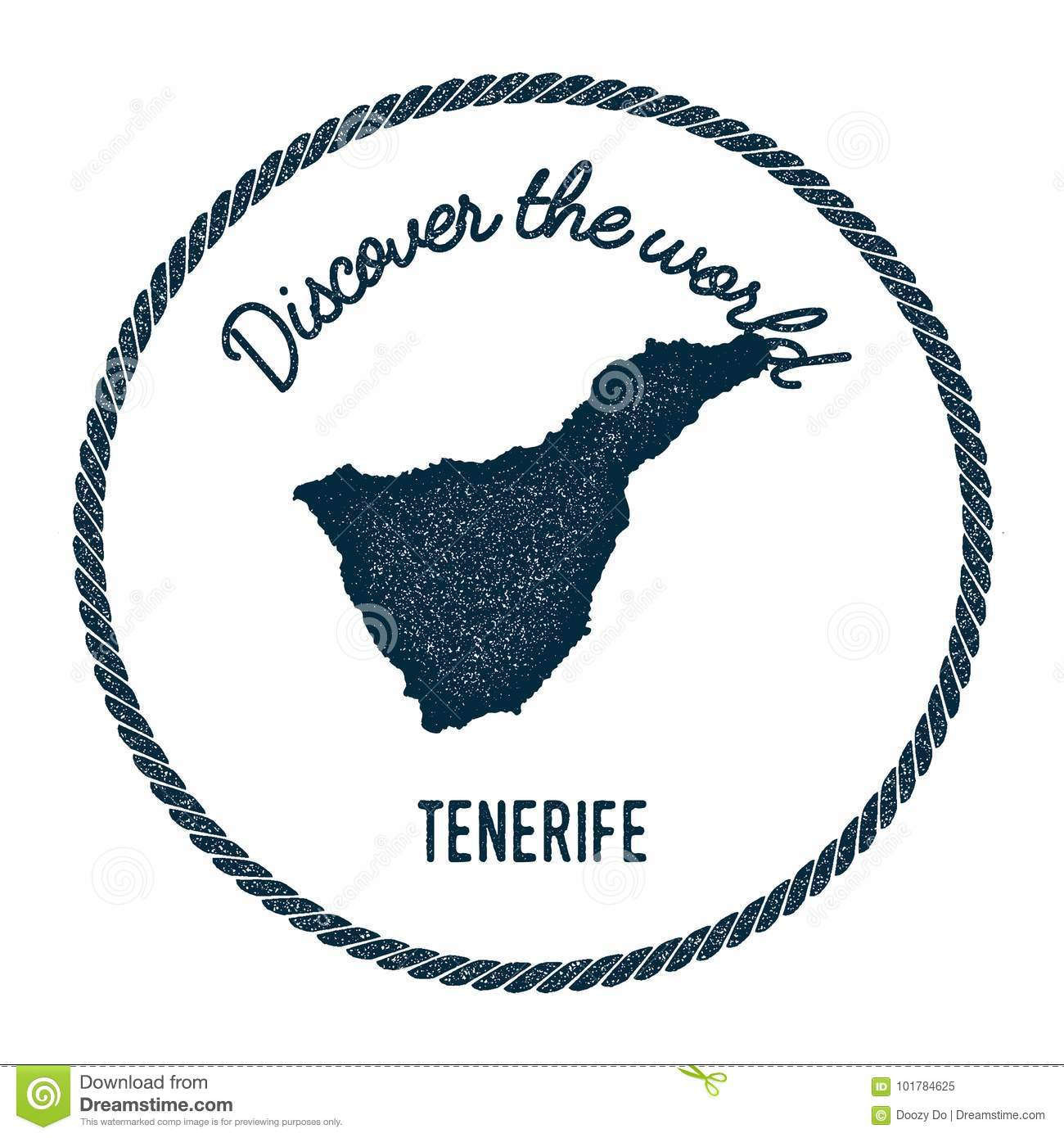 Tenerife Map In Vintage Discover The World. Stock Vector ...