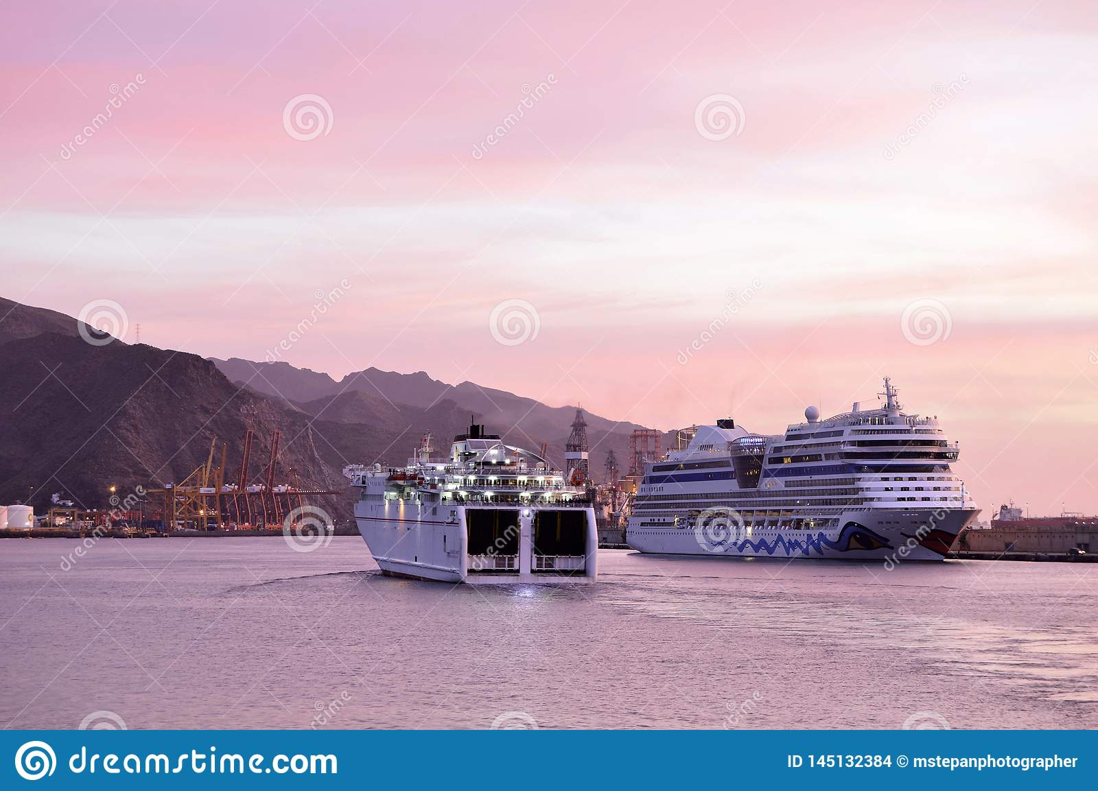 Modern cruise ships Tenerife Canary Islands