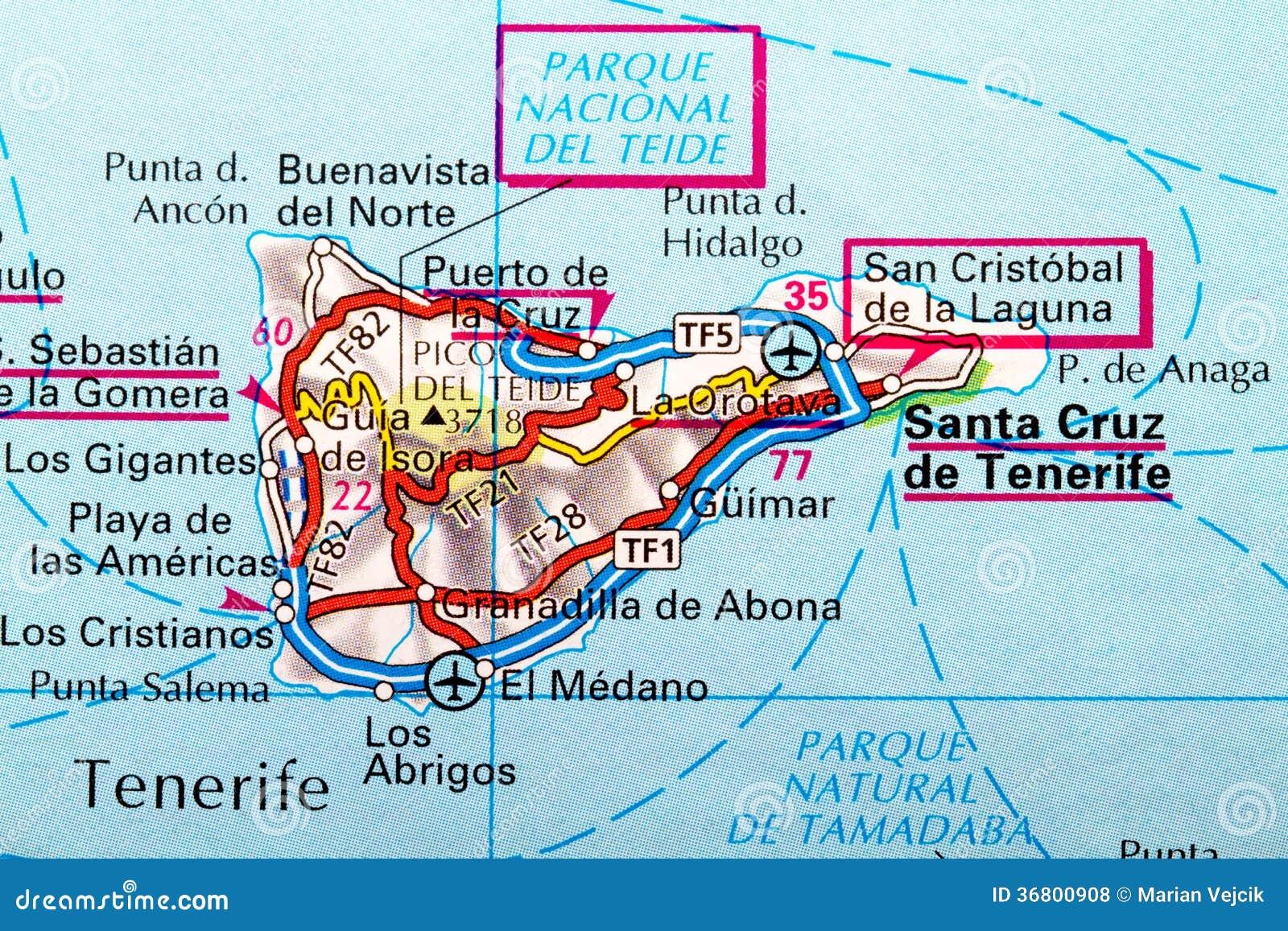 Karte Von Teneriffa.Teneriffa Karte Stockfoto Bild Von Meer Dänemark Straße 36800908