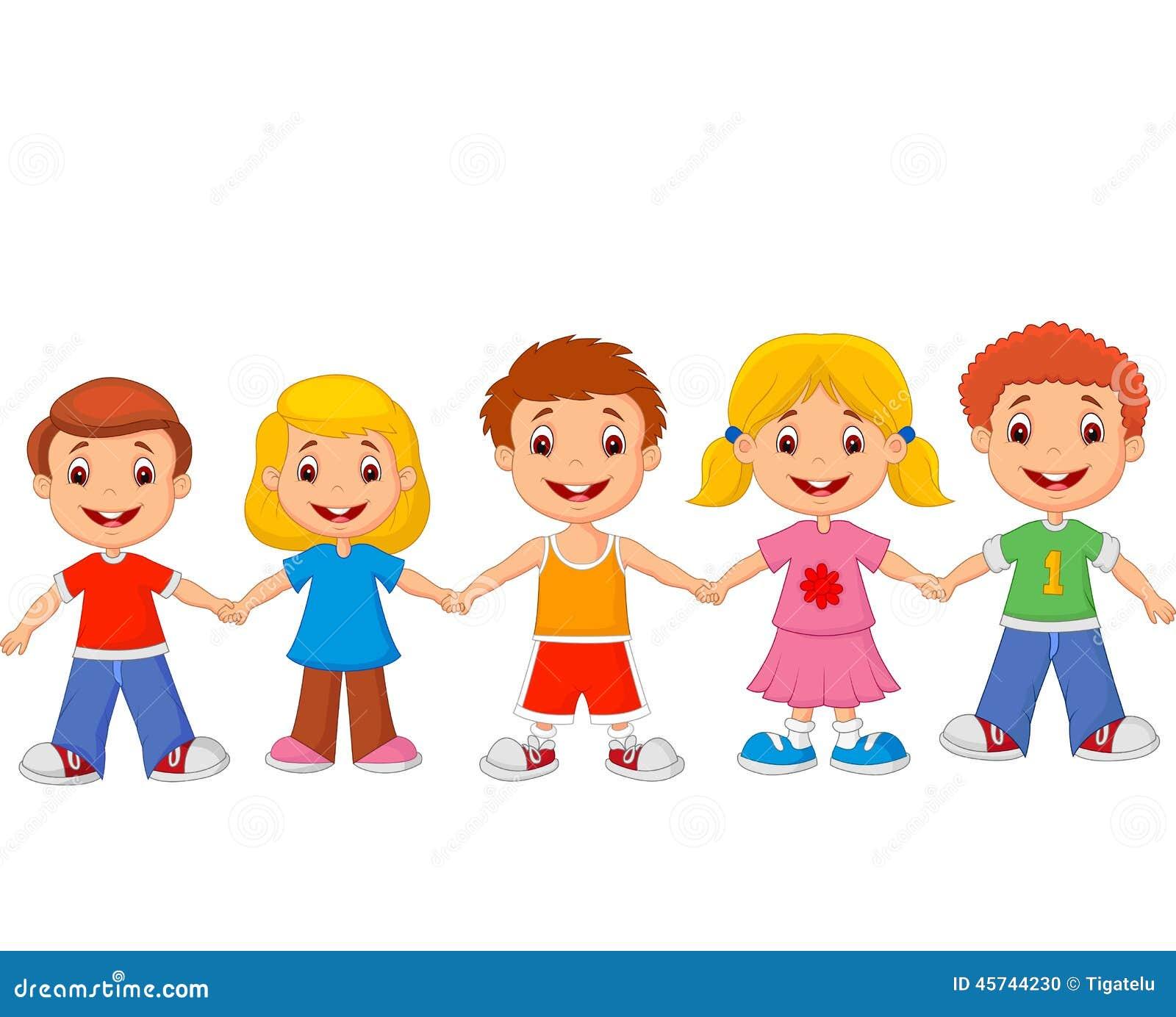 Estremamente Tenersi Per Mano Del Fumetto Dei Piccoli Bambini Illustrazione  GC62